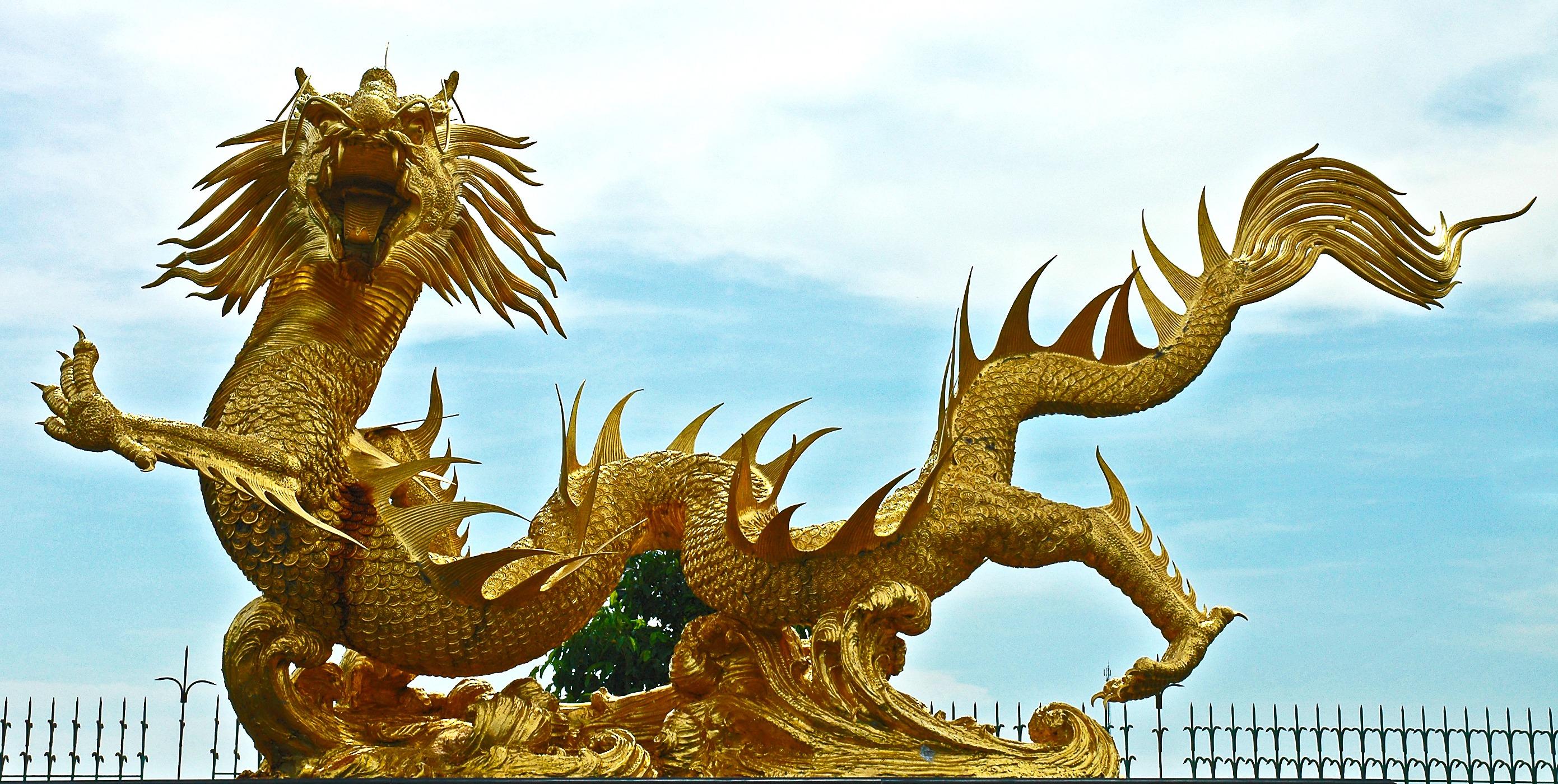 Gambar Patung Keemasan Thailand Seni Naga Mitologi 2781x1400