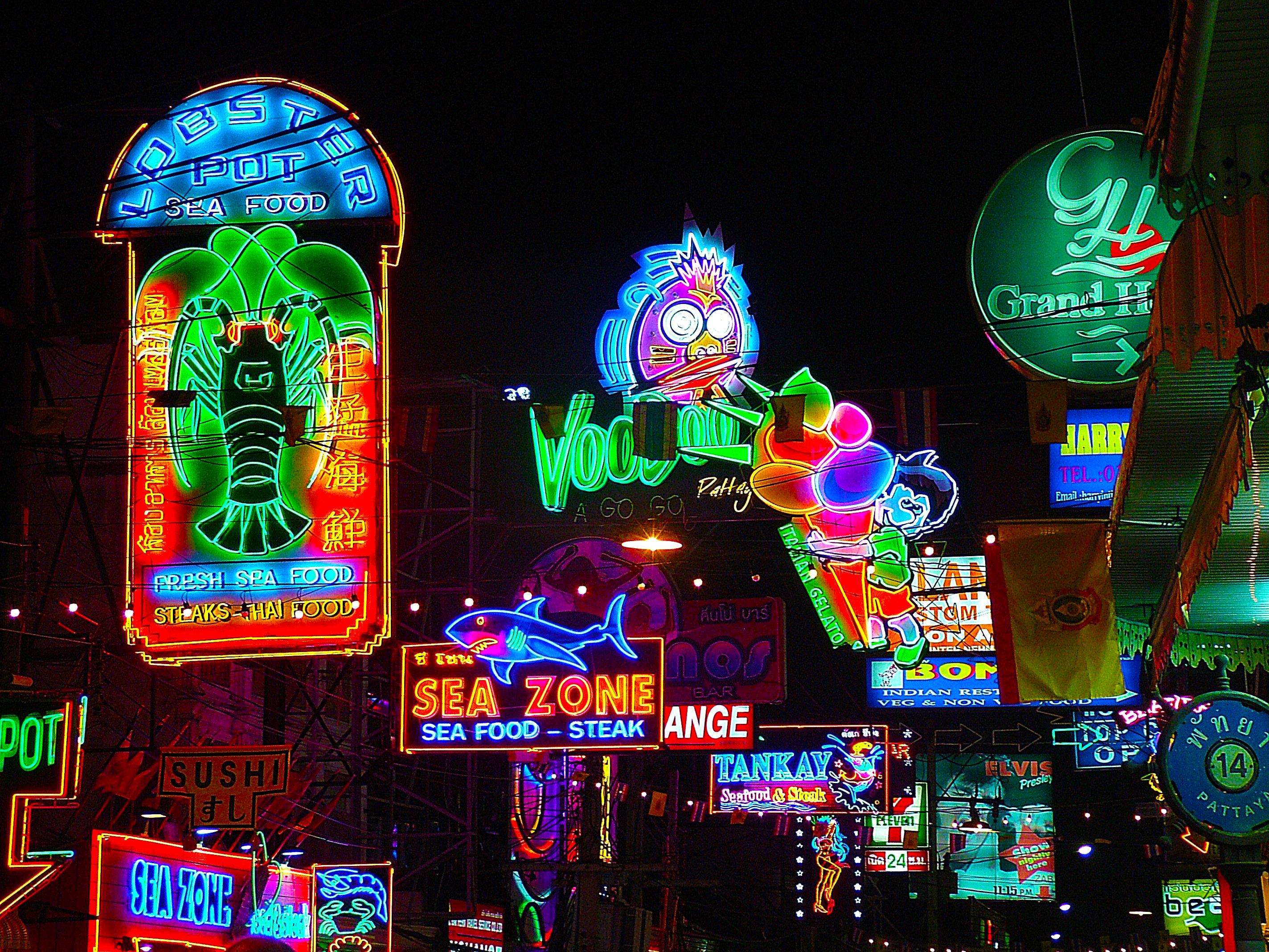 street night window dark evening signage christmas thailand neon neon sign lights signs pattaya neon lights