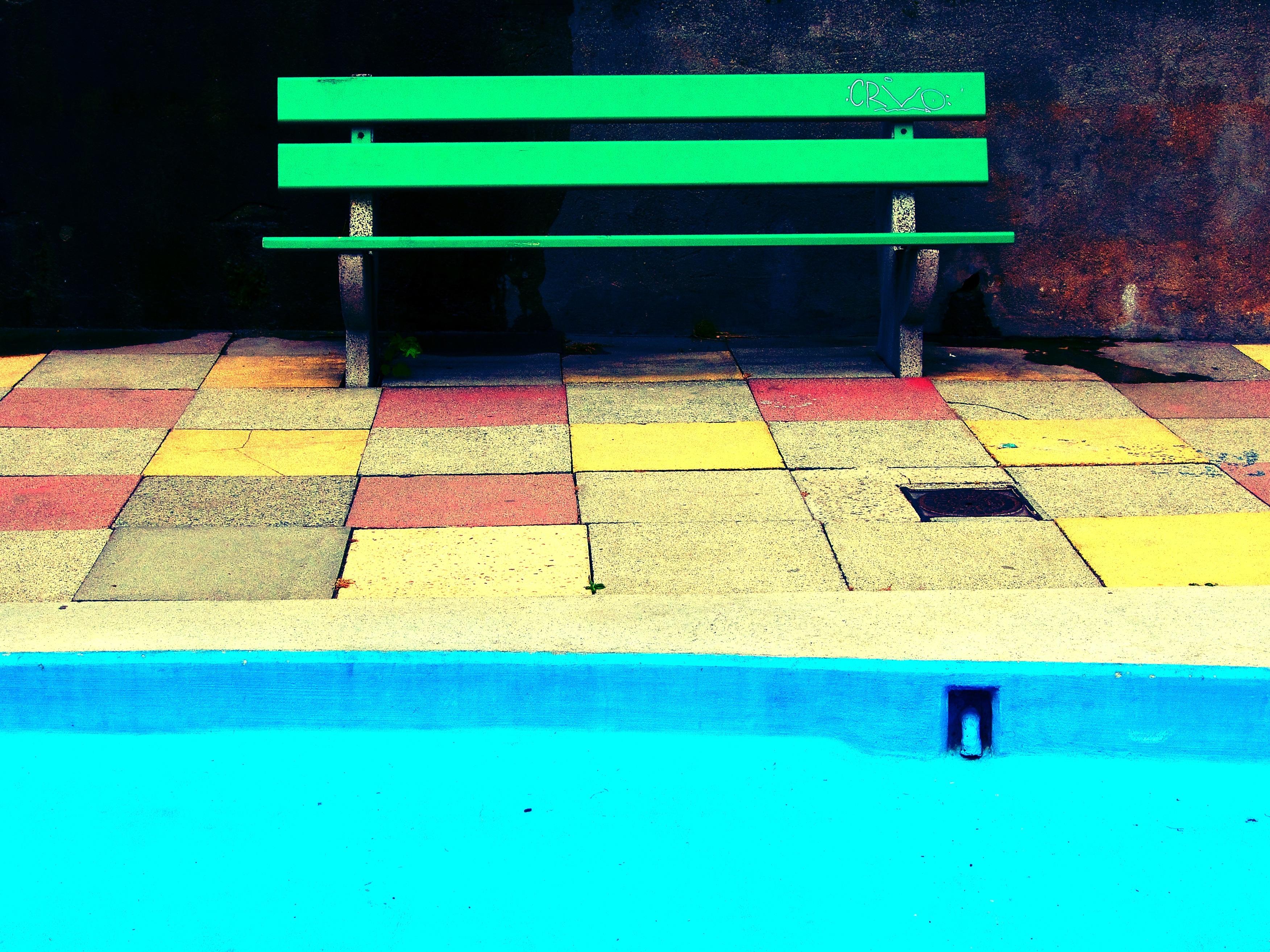 Structure Bench Floor Pool Green Color Blue Furniture Art Bright Tiles Shape Flooring Sport Venue