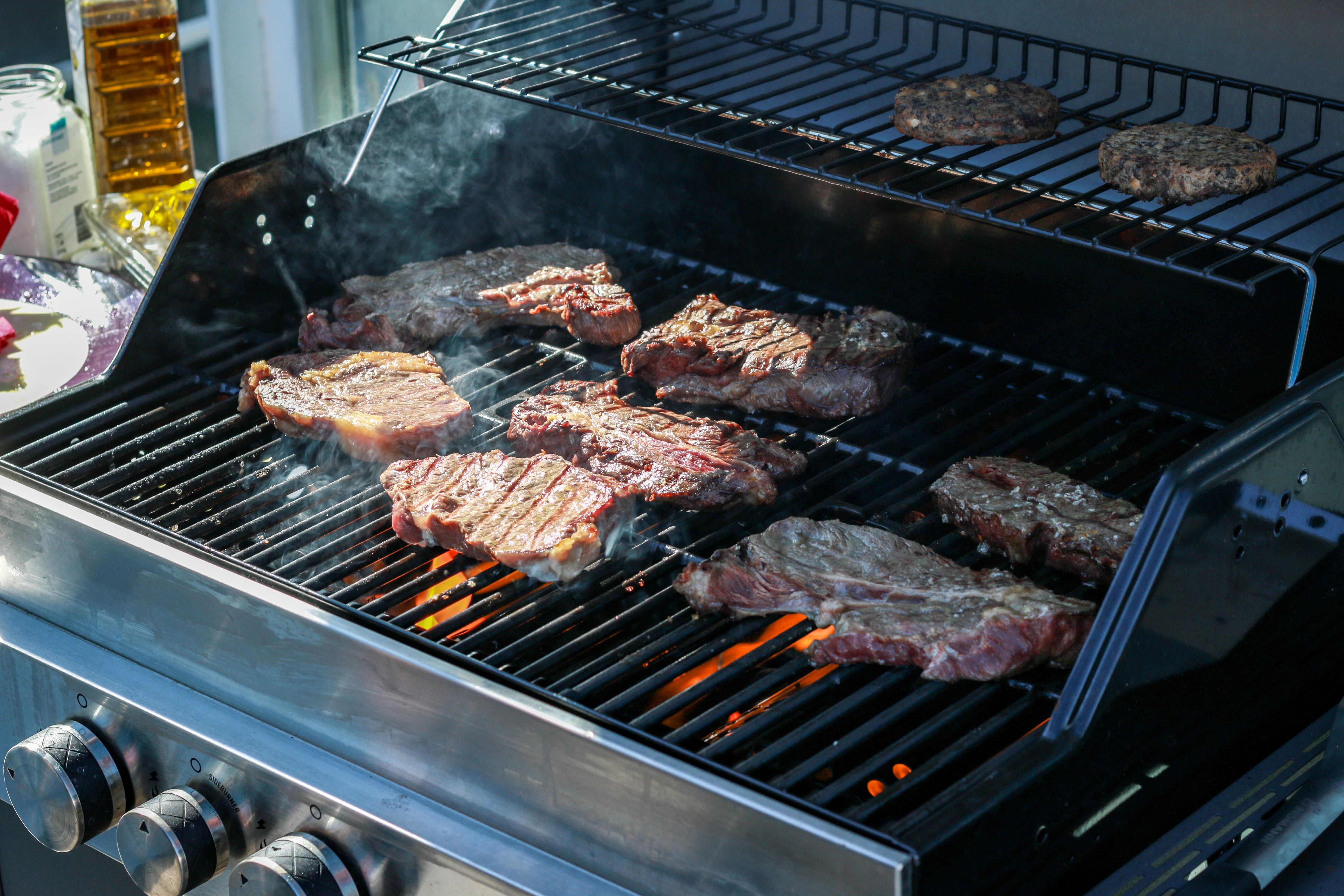 Musim Panas Hidangan Makan Makanan Memasak Bbq Barbeque Daging Panggang Masakan Panggangan Gas Pembakaran Memanggang Grill