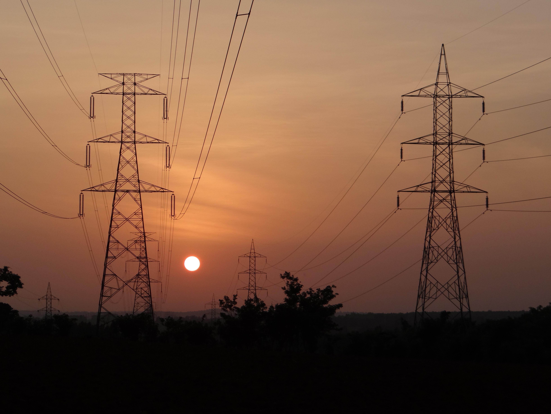 Electric Power Transmission Structures : Free images sunset electricity india karnataka
