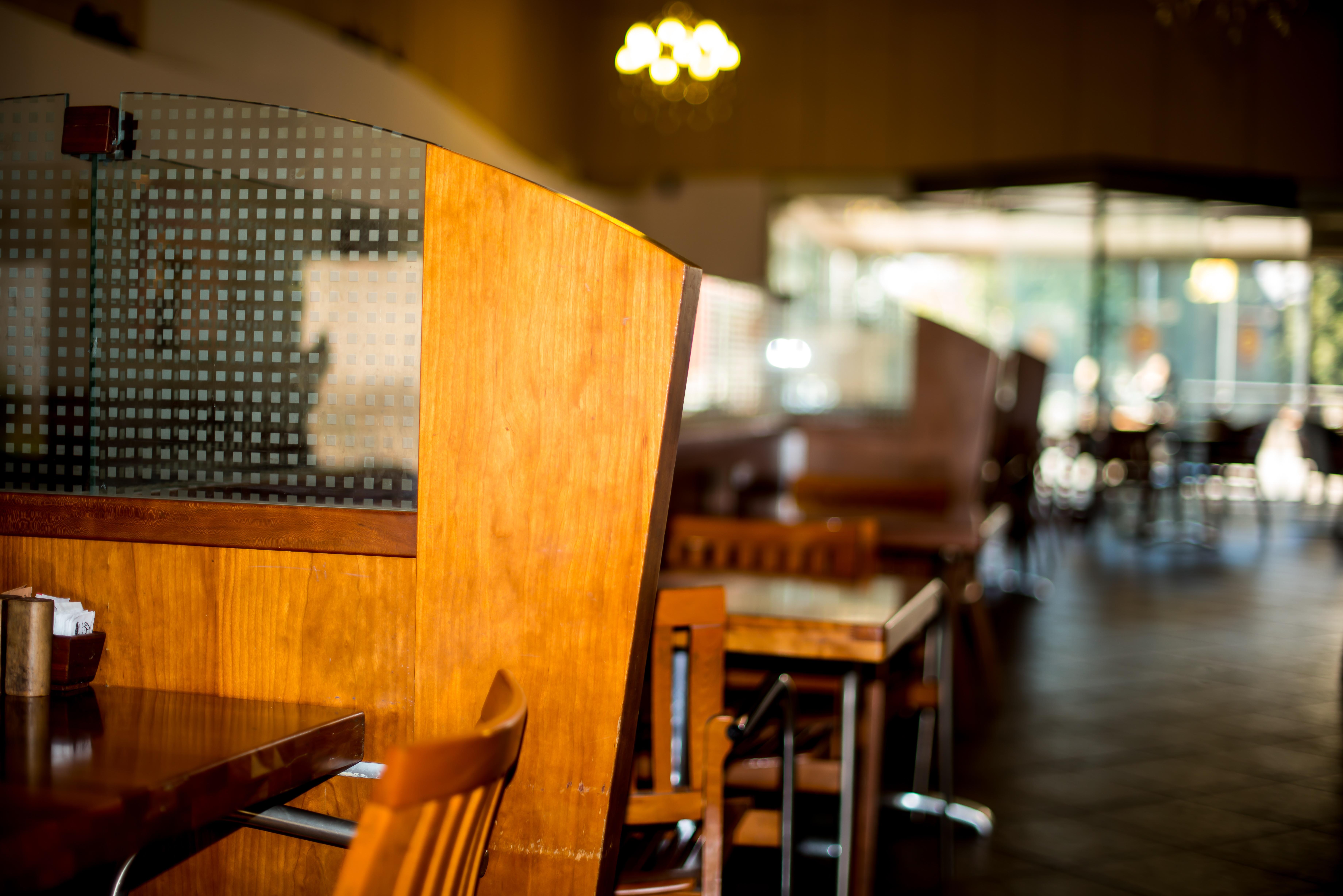 Table Chair Restaurant Bar Indoor Divider Empty Furniture Room Modern  Luxury Dining Service Elegance