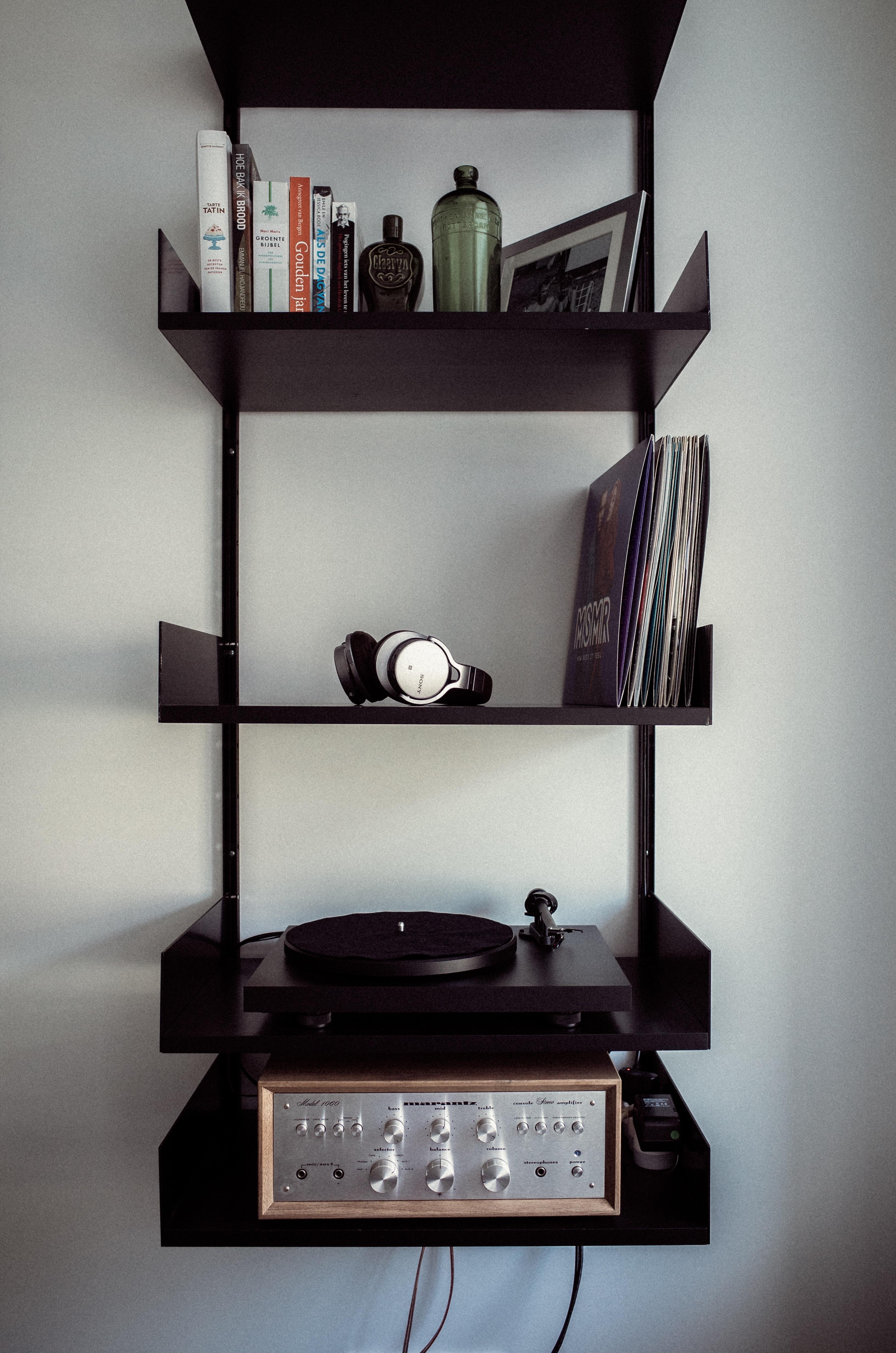 Table Record Music Interior Equipment Shelf Rack Furniture Room Lighting Modern Living Design Audio Books Style