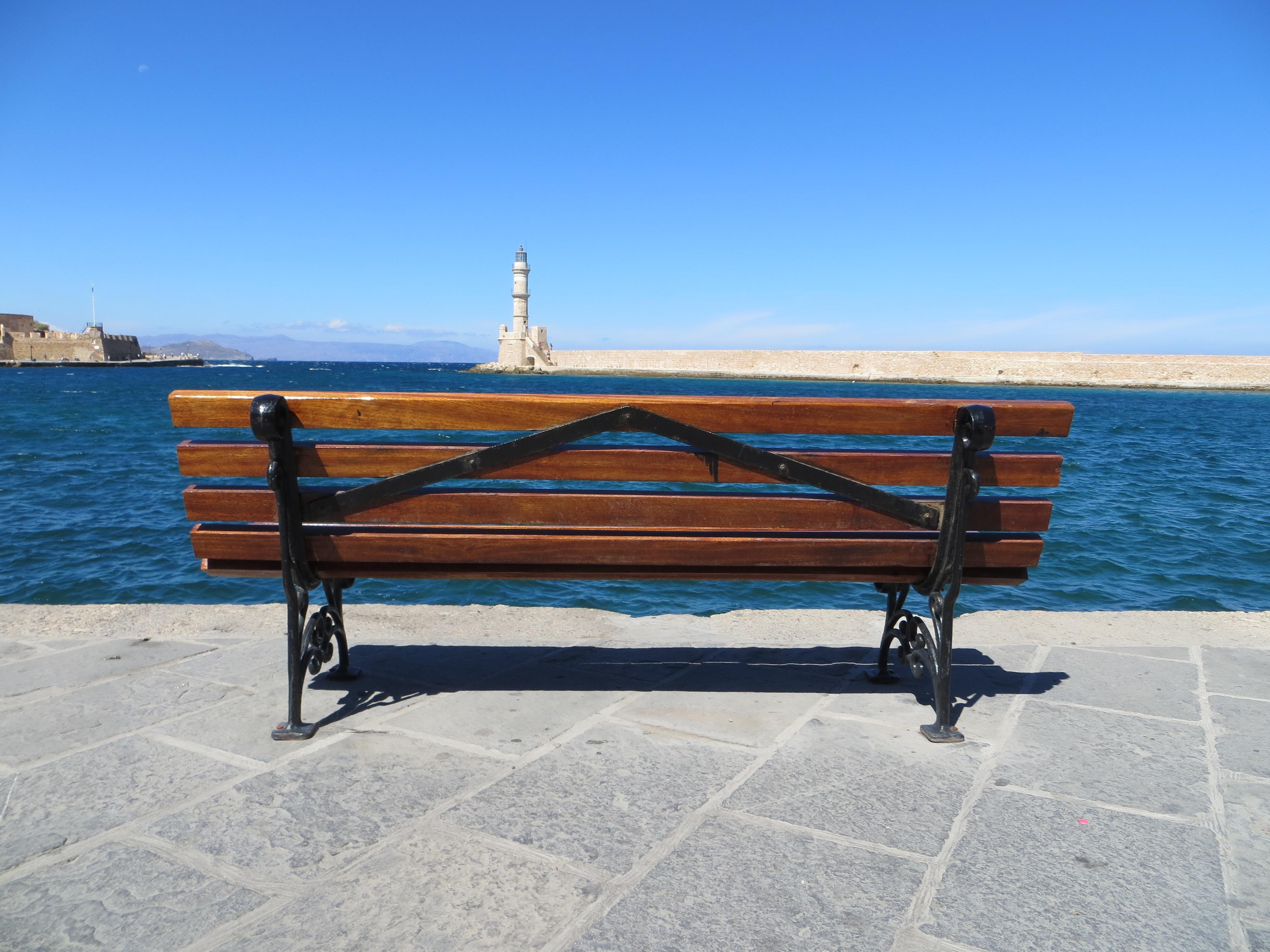 kostenlose foto tabelle meer holz bank m bel promenade kreta gartenm bel 4000x3000. Black Bedroom Furniture Sets. Home Design Ideas