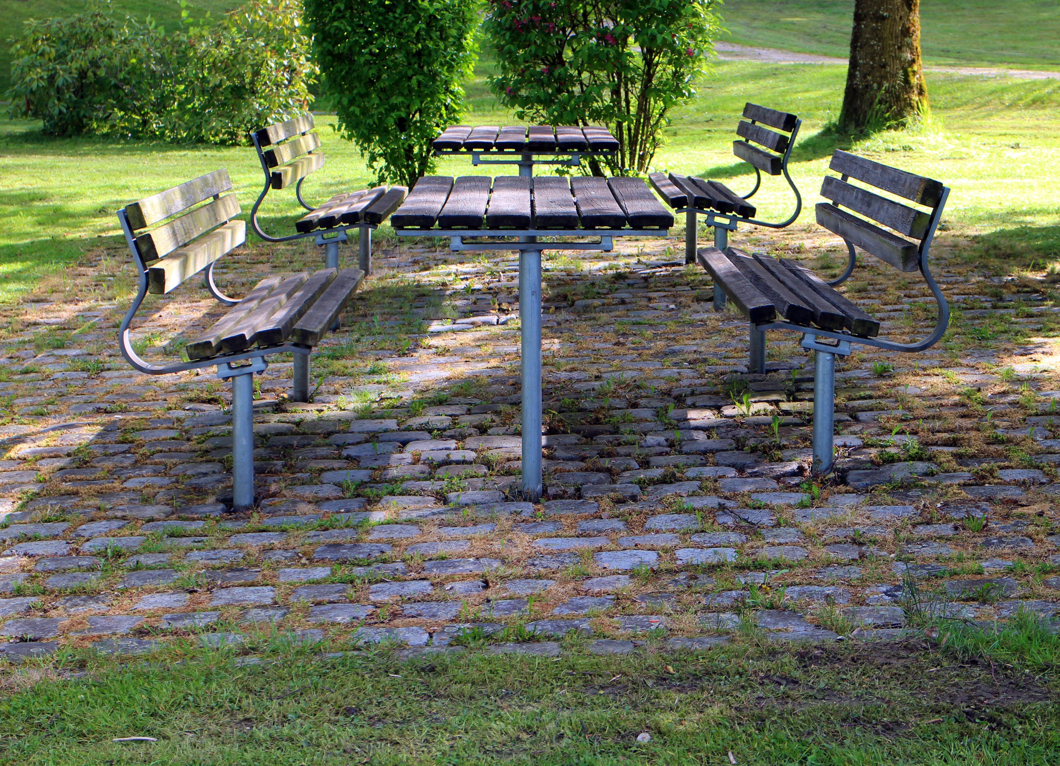 Fotos gratis : mesa, árbol, césped, banco, asiento, parque, patio ...