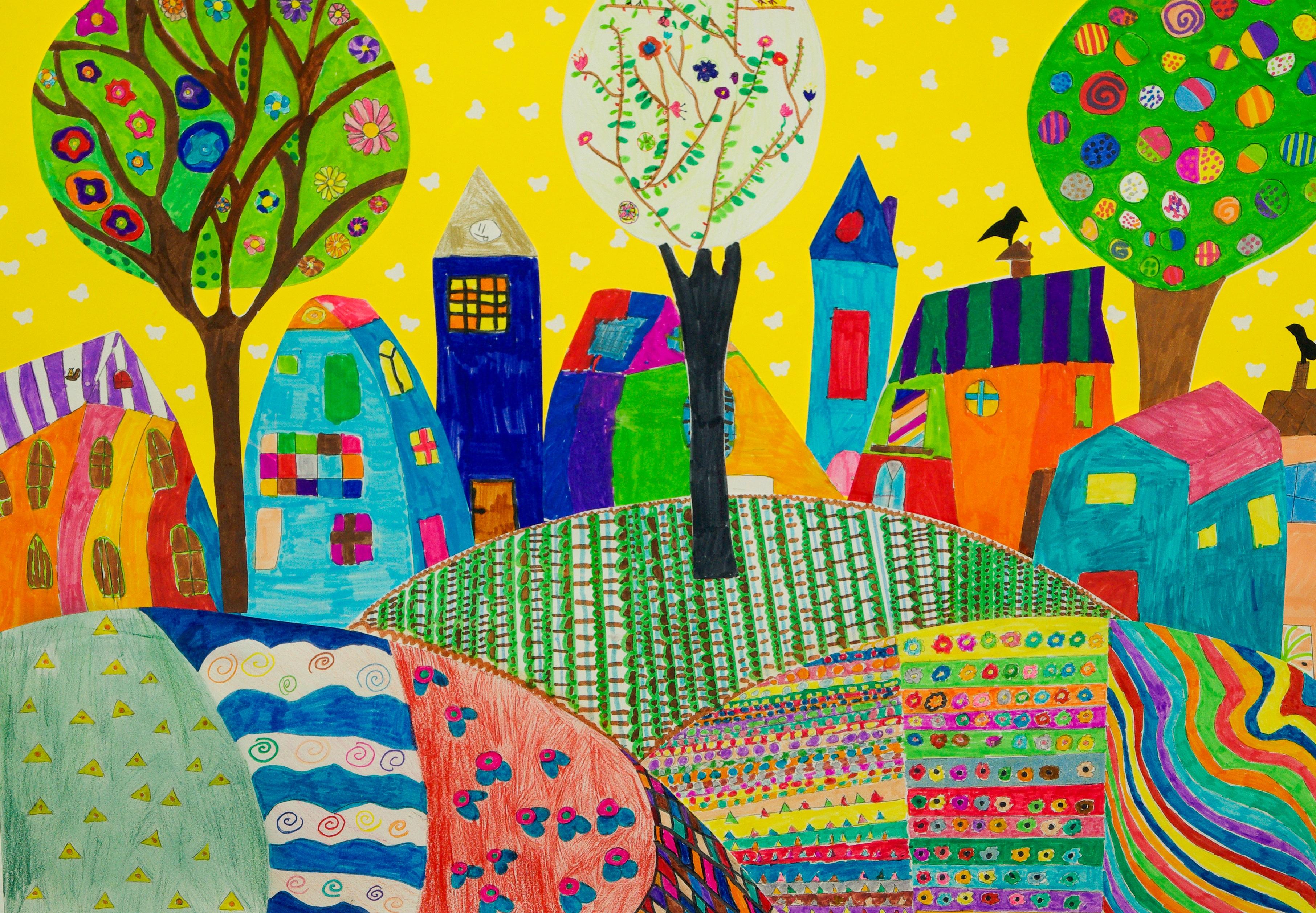Free images table village pattern color garden for Children s mural artist