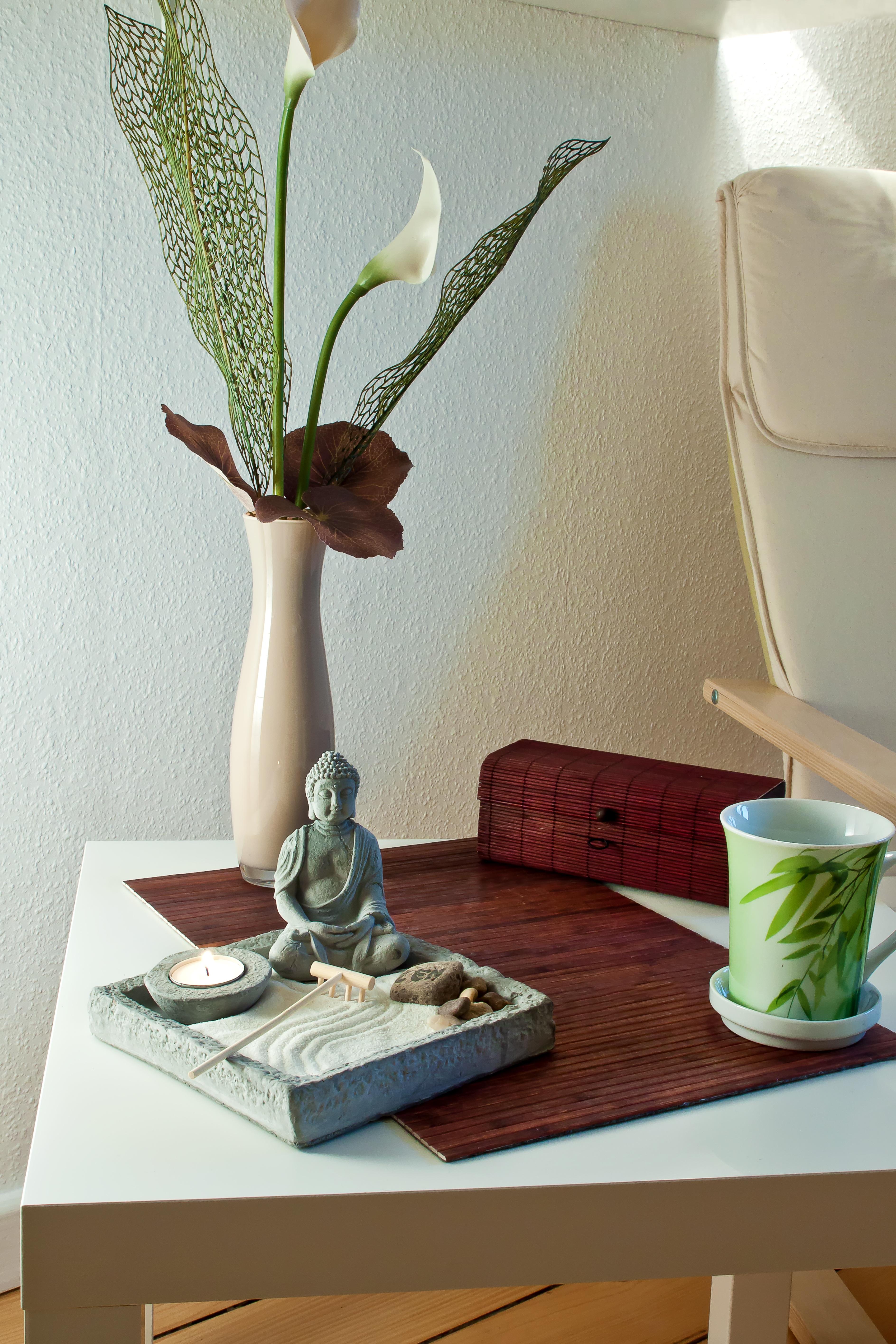free images table wood flower smoke statue meditate. Black Bedroom Furniture Sets. Home Design Ideas