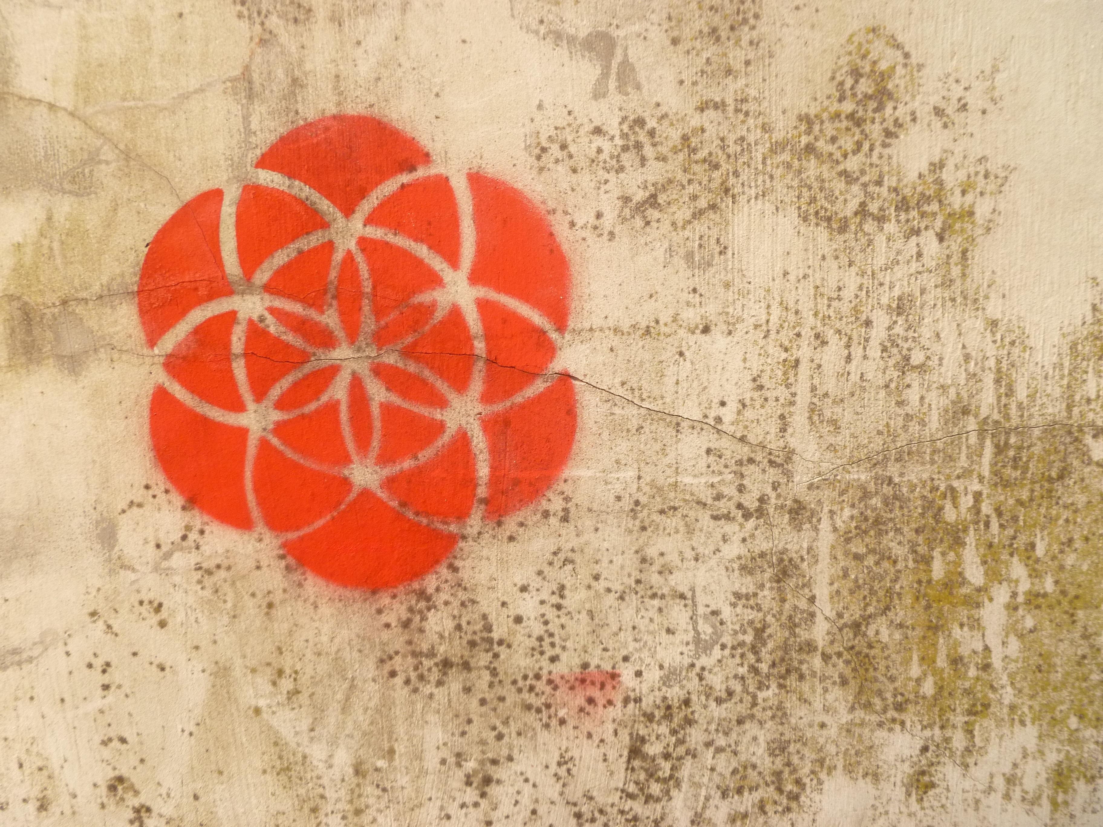 Graffiti wall amsterdam - Texture Flower Urban Wall Orange Pattern Red Graffiti Material Circle Street Art Textile Art Amsterdam Drawing
