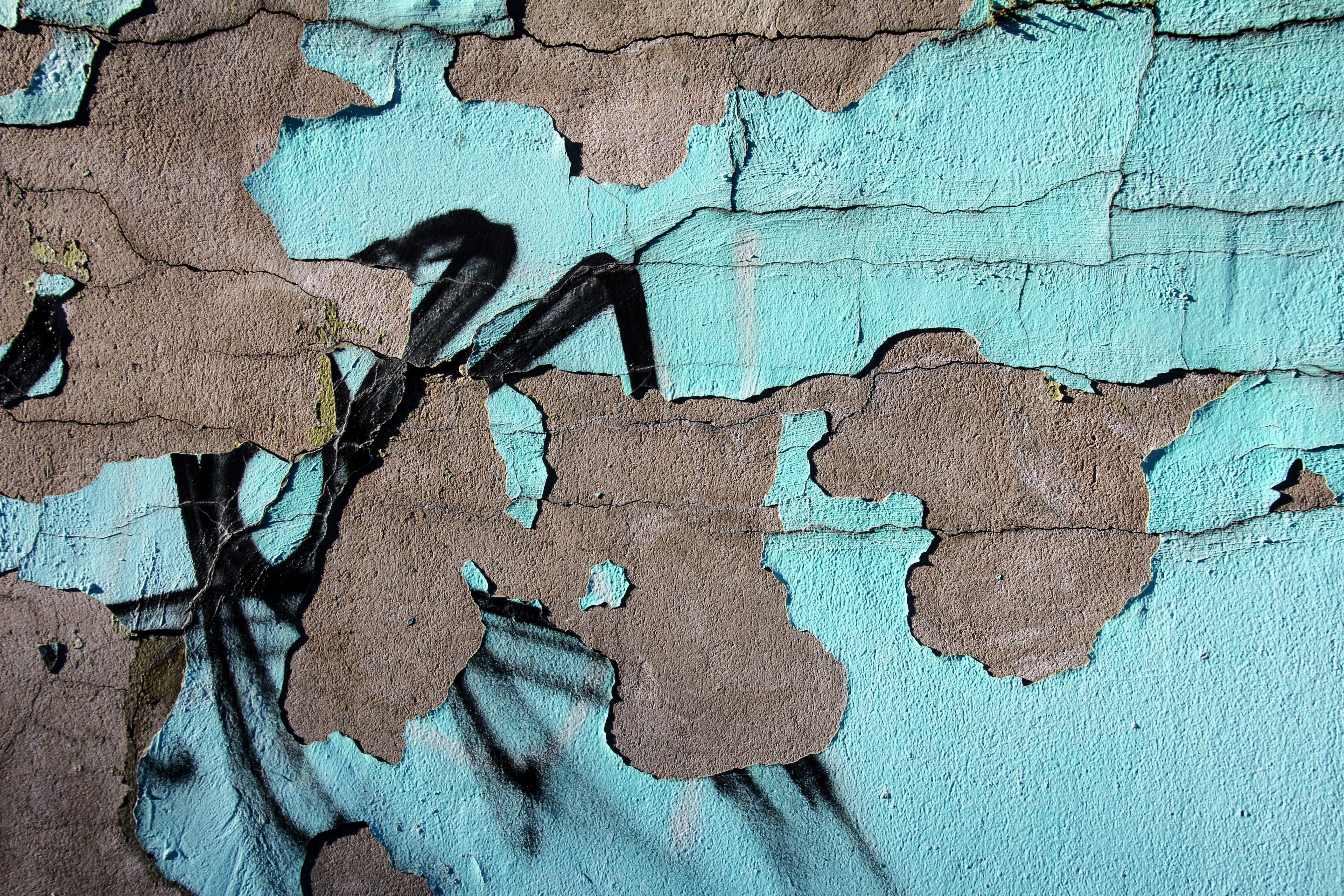 Textur Blatt Mauer Grün Sprühen Farbe Boden Blau Graffiti Kunst Gips  Hausfrau Gemalte Wand
