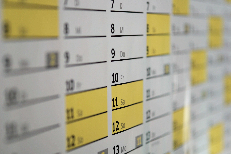 무료 이미지 시각 번호 선 사무실 노랑 날짜 년 일 시간표 벽걸이 달력