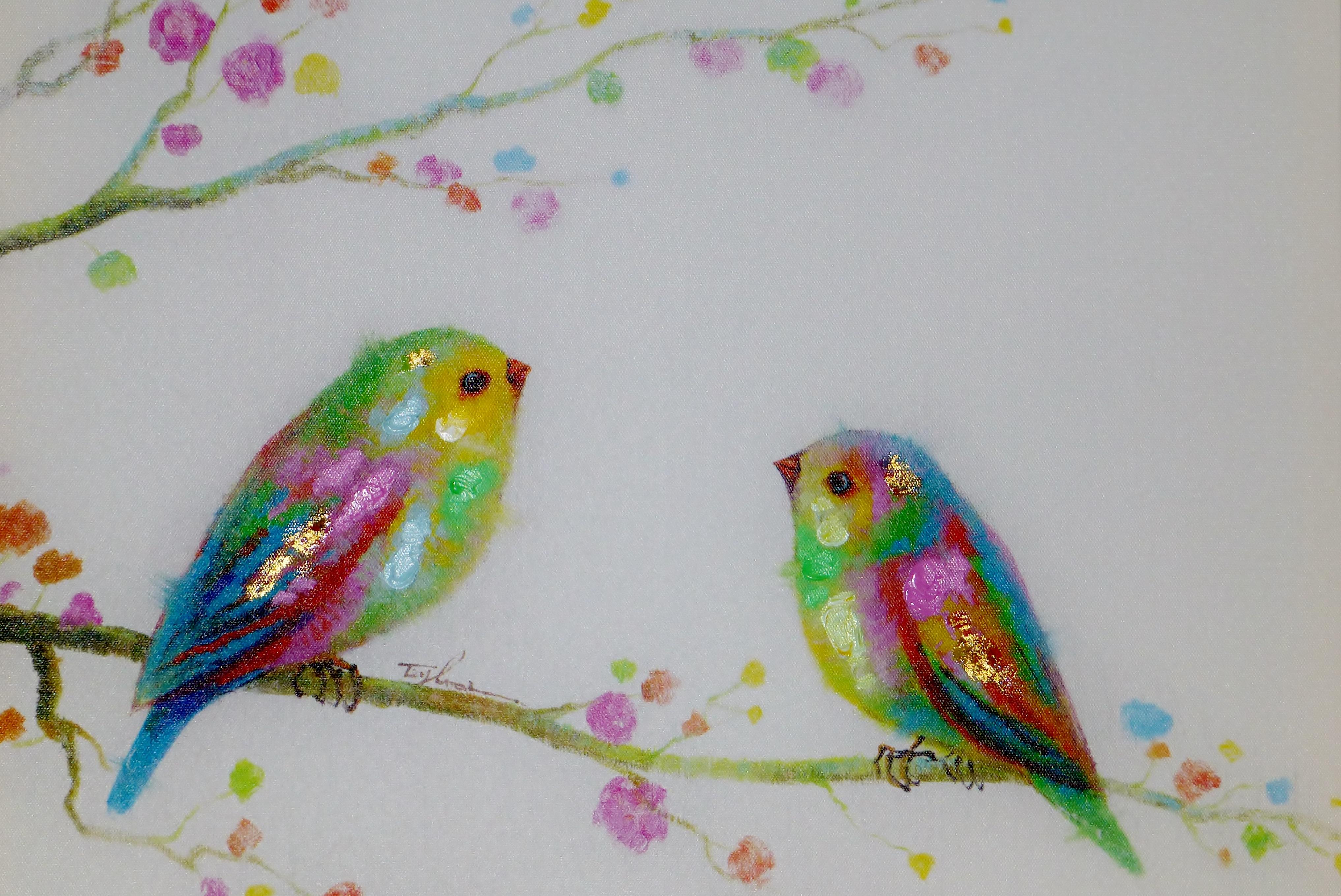 Fotoğraf Ağaç şube Kuş Sevimli Renk Boya Renkli Boyama