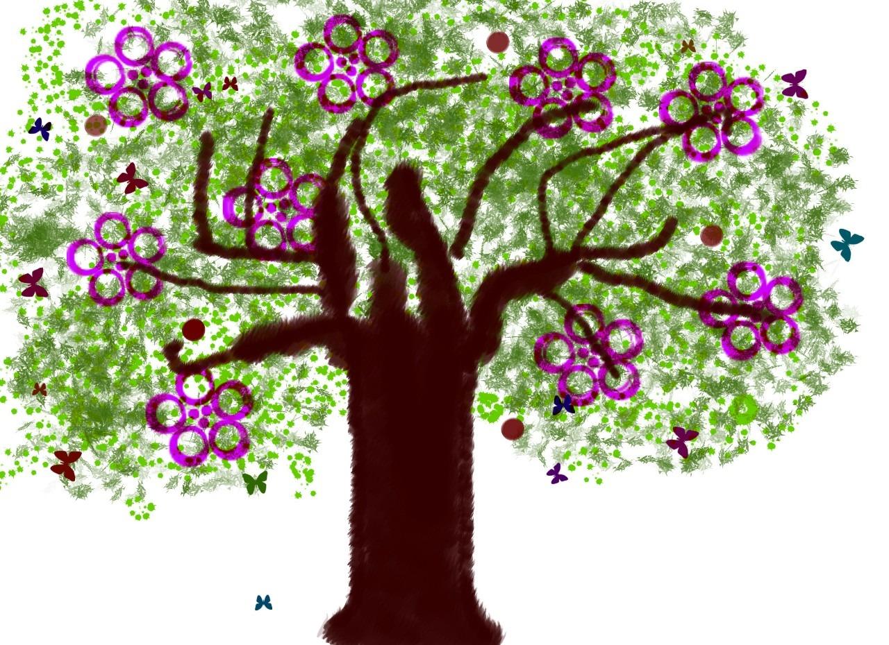 Gambar Ilustrasi Tanaman Bunga Gambar Pohon Cabang Menanam Bunga Musim Semi Simbol Bunga