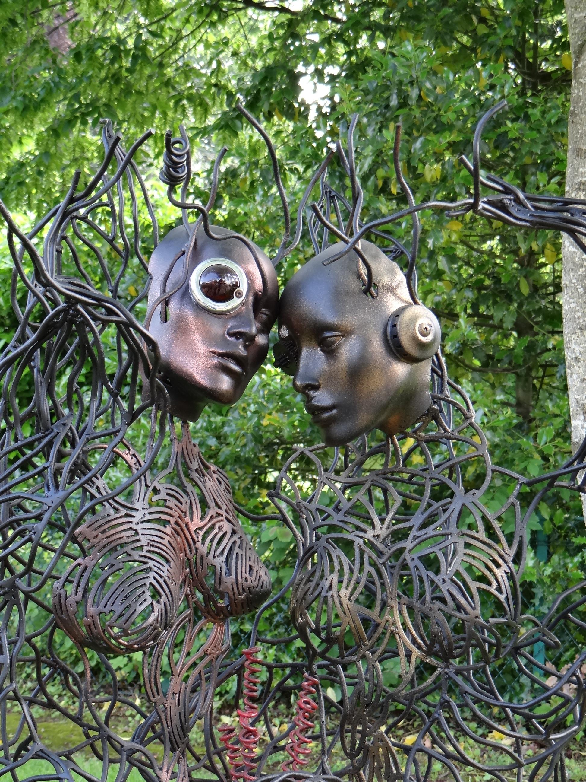 Tree Flower Meeting France Love Spring Jungle Park Metal Couple Romantic  Set Garden Artwork Sculpture Culture
