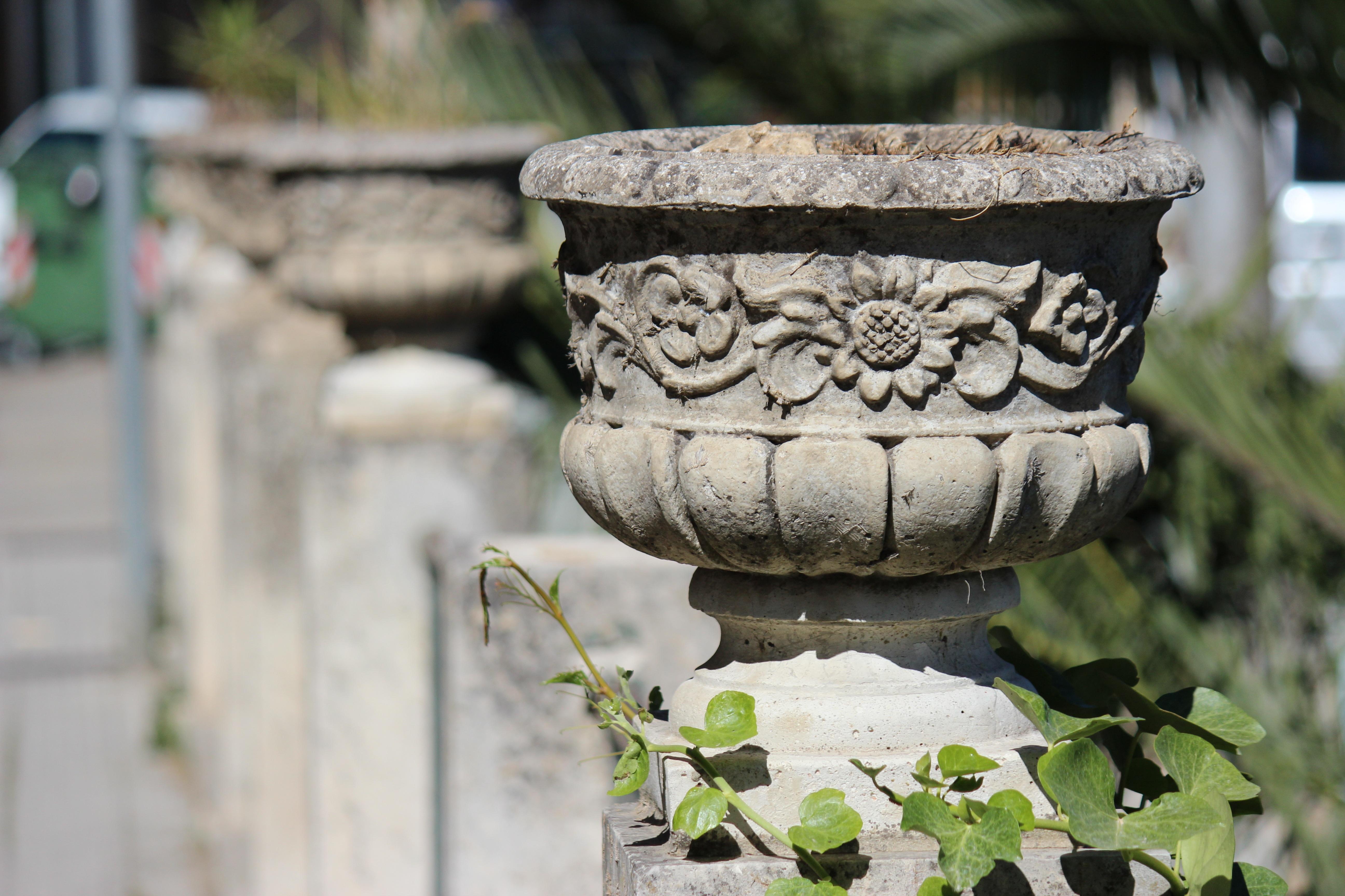 Gambar Pohon Menanam Kayu Bunga Batu Patung Vas Hijau Ivy Penanam Taman Penerangan Seni Candi Langkan