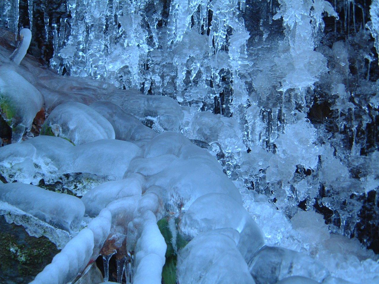 водопад снег лес waterfall snow forest без смс