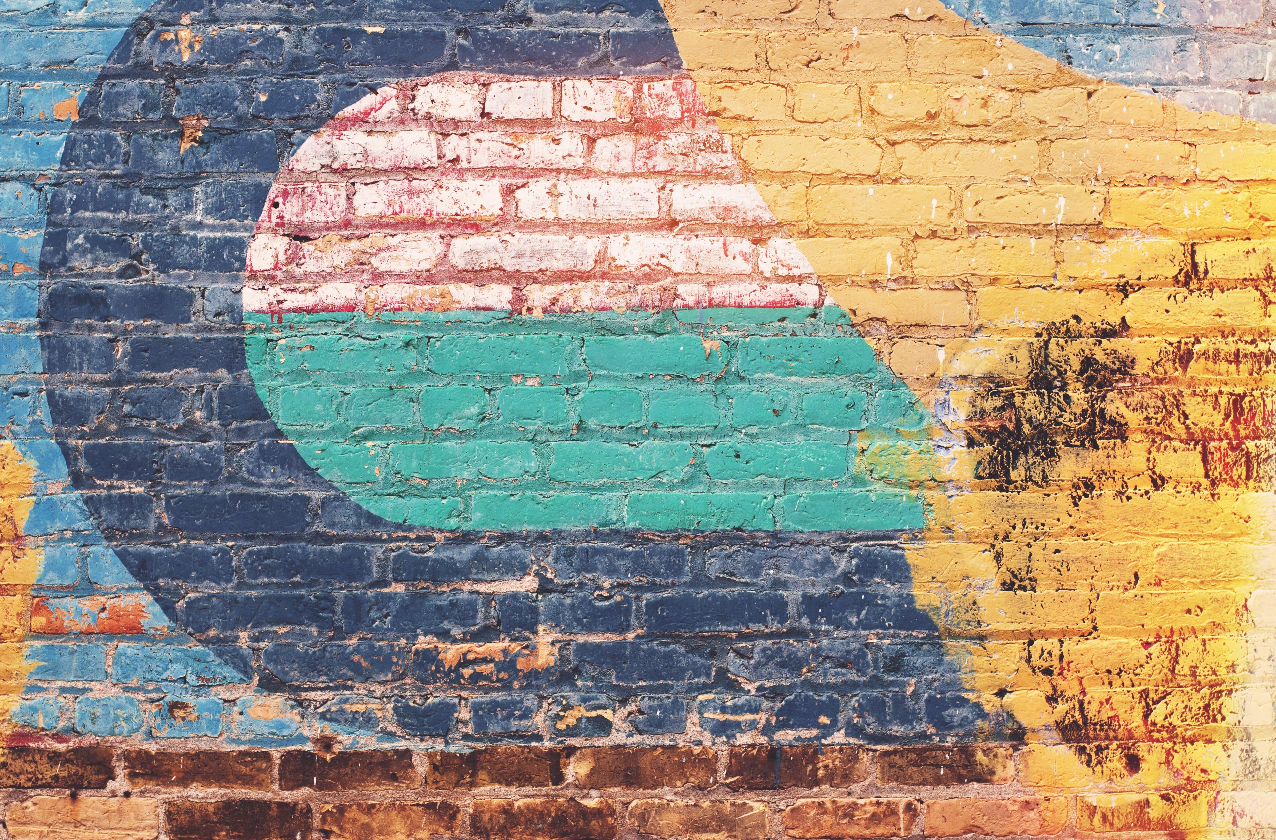 Städtisch Mauer Farbe Farbe Ziegel Graffiti Material Malerei Kunst  Wandgemälde Mauerwerk Alte Geschichte