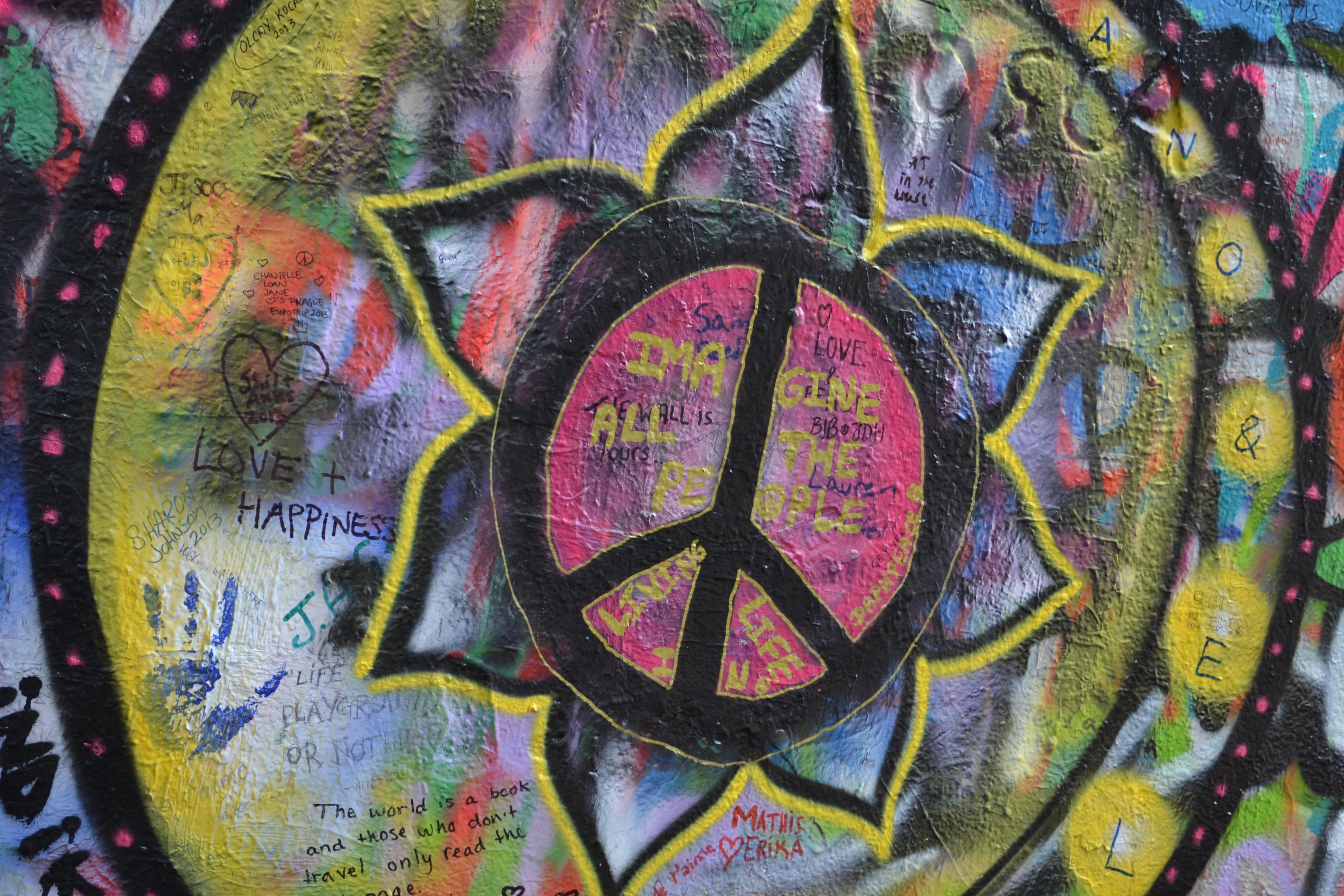 Grafitti wall painting - Urban Wall Love Symbol Spray Color Artist Paint Grunge Prague Graffiti Artwork Painting Memorial Art Drawing