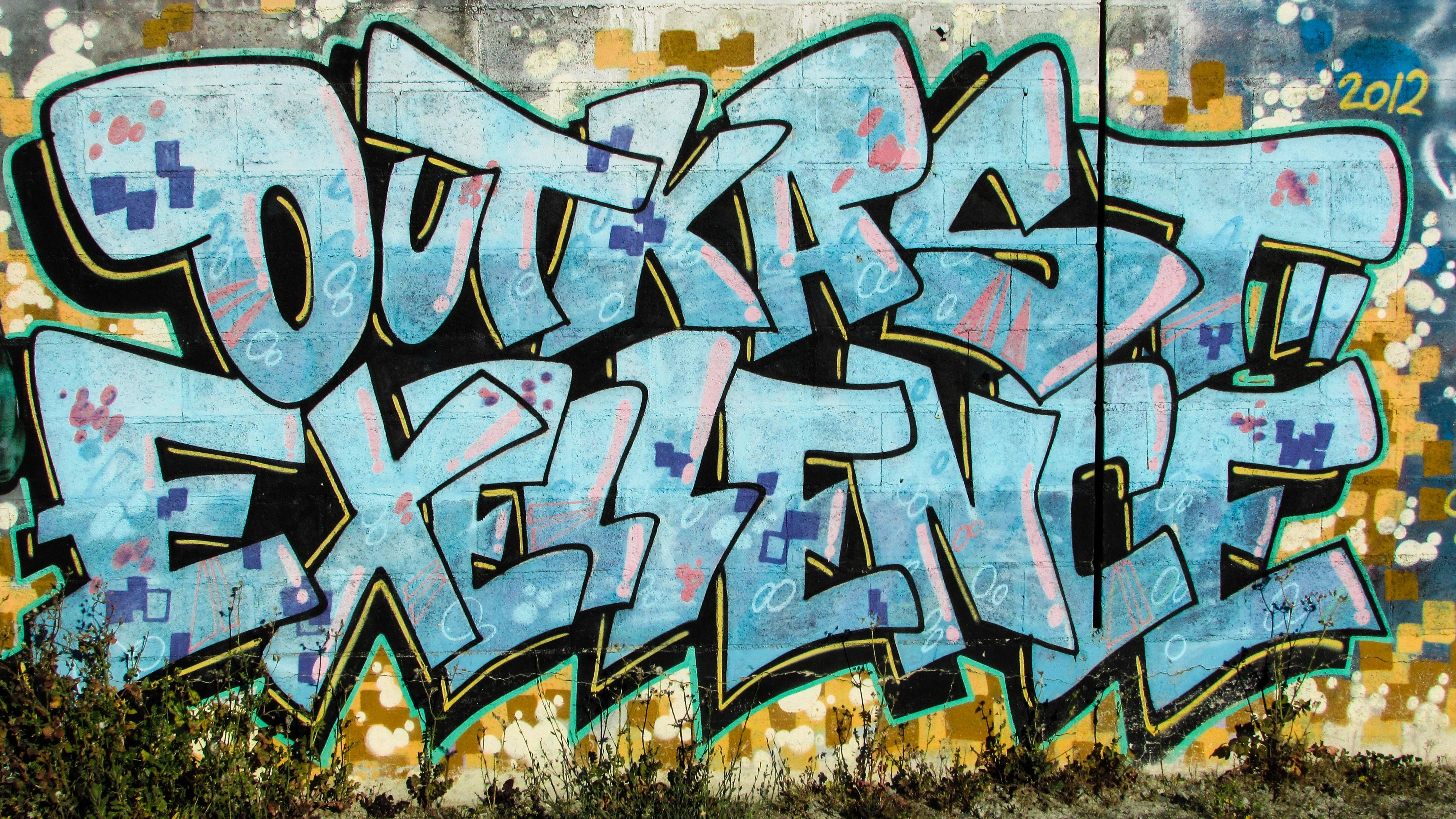 Fotoğraf Genç Grunge Renkli Yaşam Tarzı Duvar Yazısı Boyama