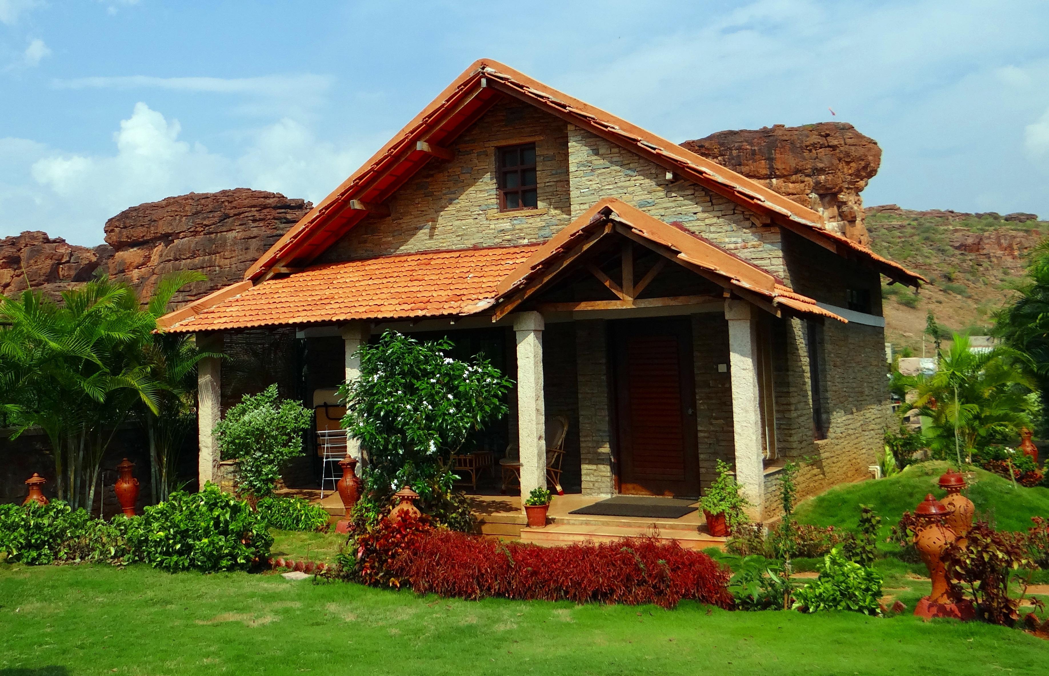 Free images villa house building sandstone cottage for Vacation log homes