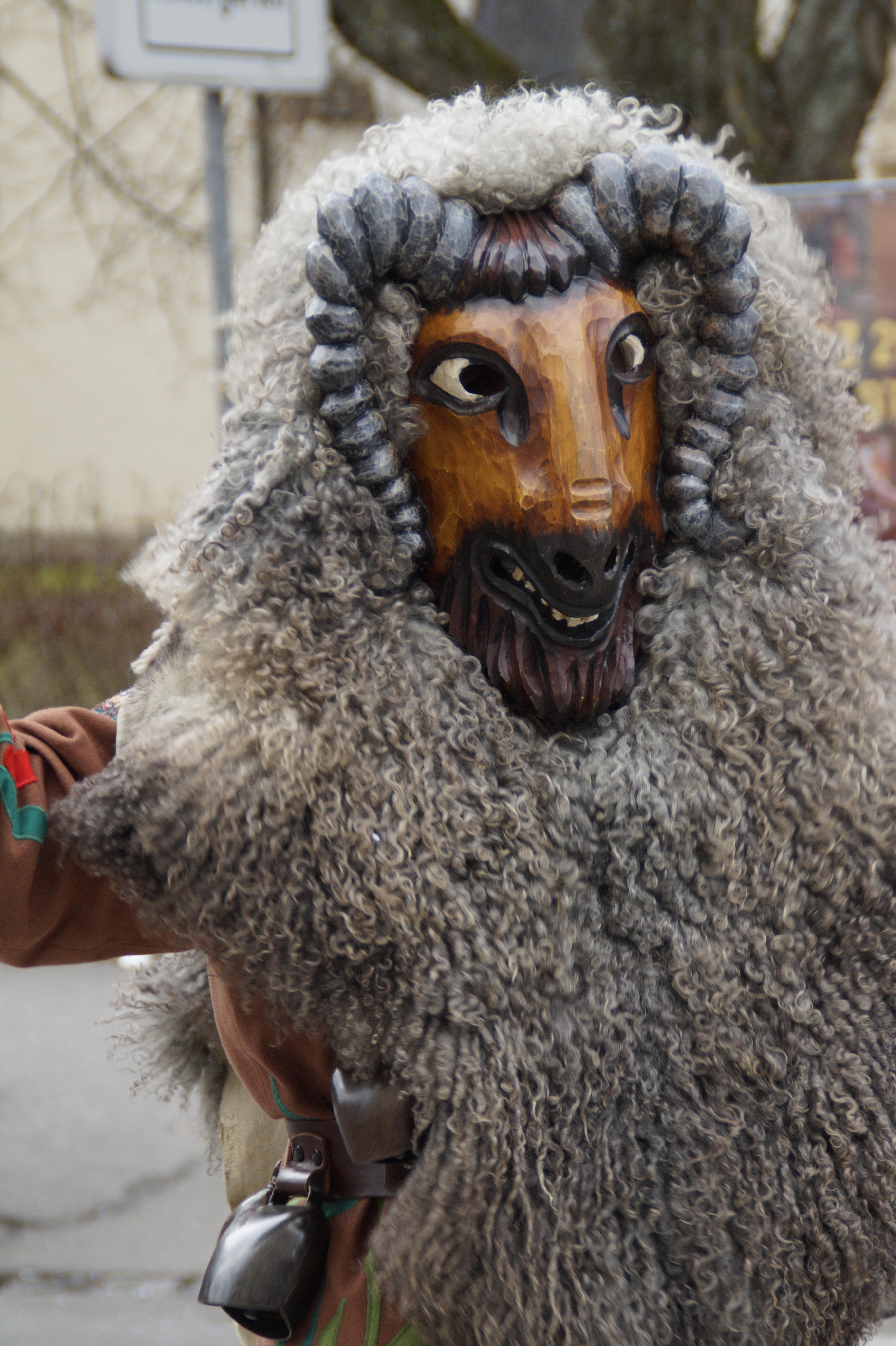 Vineyard Animal Goat Fur Portrait Carnival Sheep Dressed Up Face Mask Figure Move Germany Carved Custom
