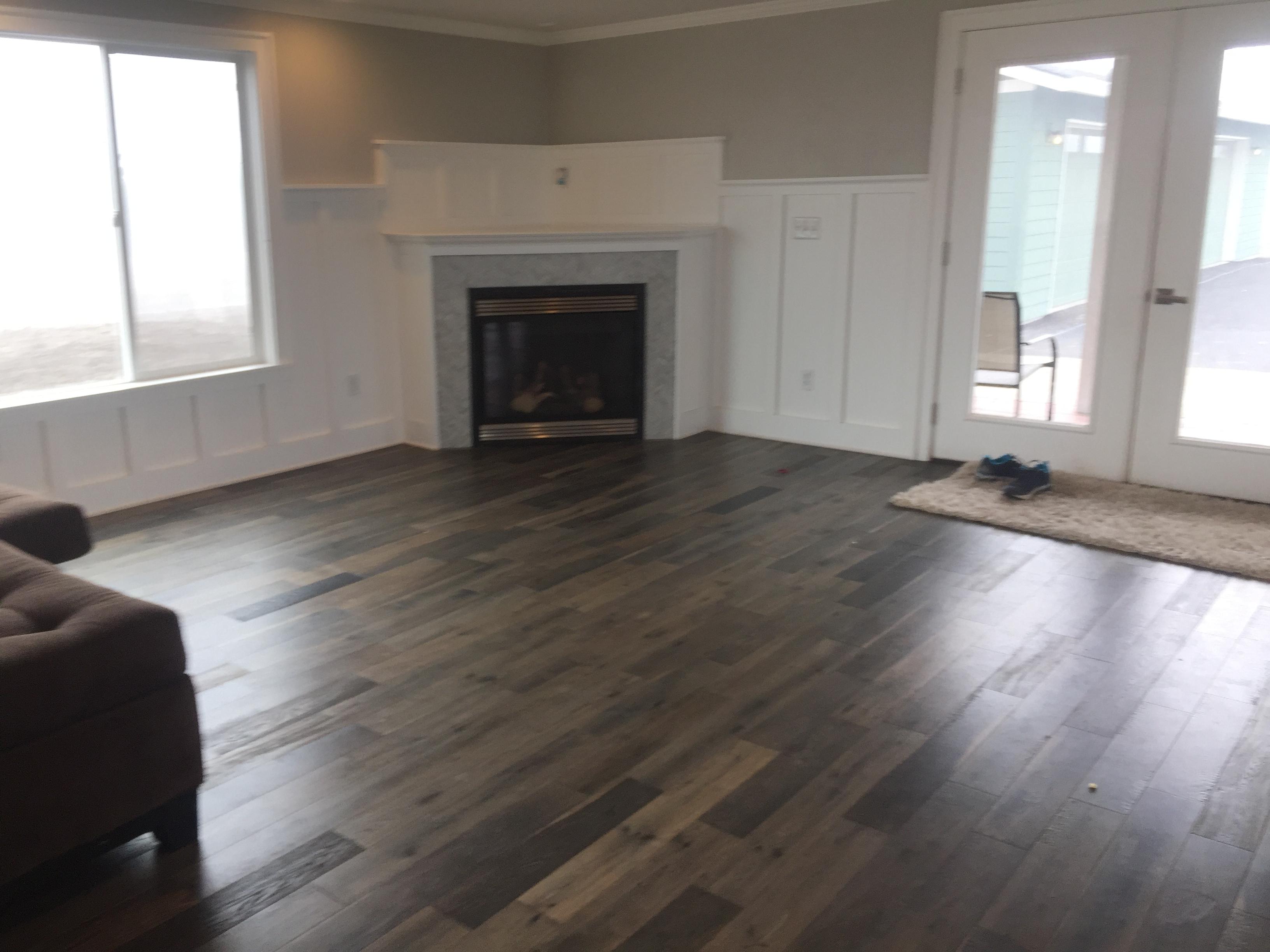 Wood Stain Living Room Daylighting, Estate Living Laminate Flooring