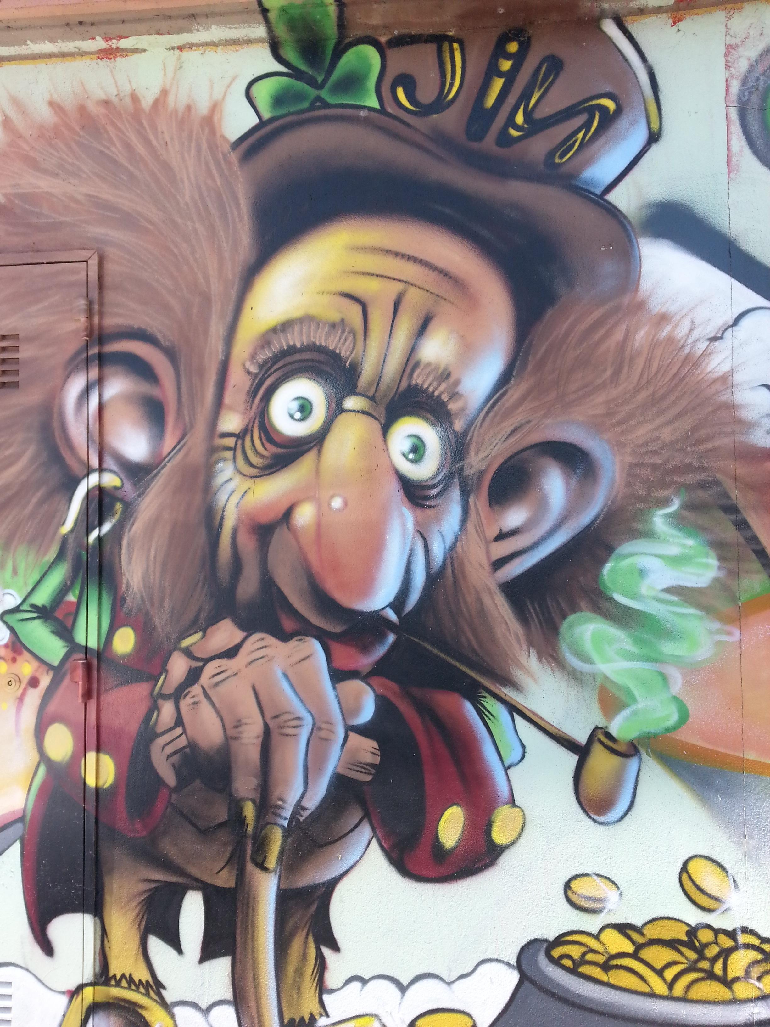 Gambar Dinding Seni Ilustrasi Mural Seniman Komik Gambar