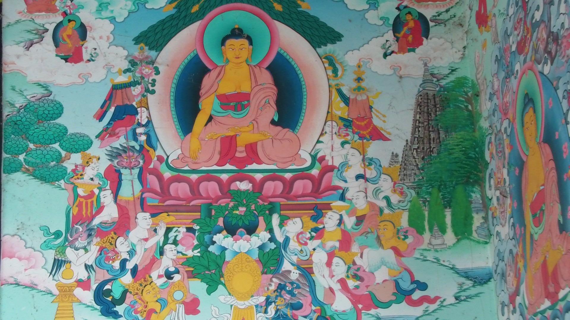 Bildet Vegg Buddhist Buddhisme Maleri Kunst