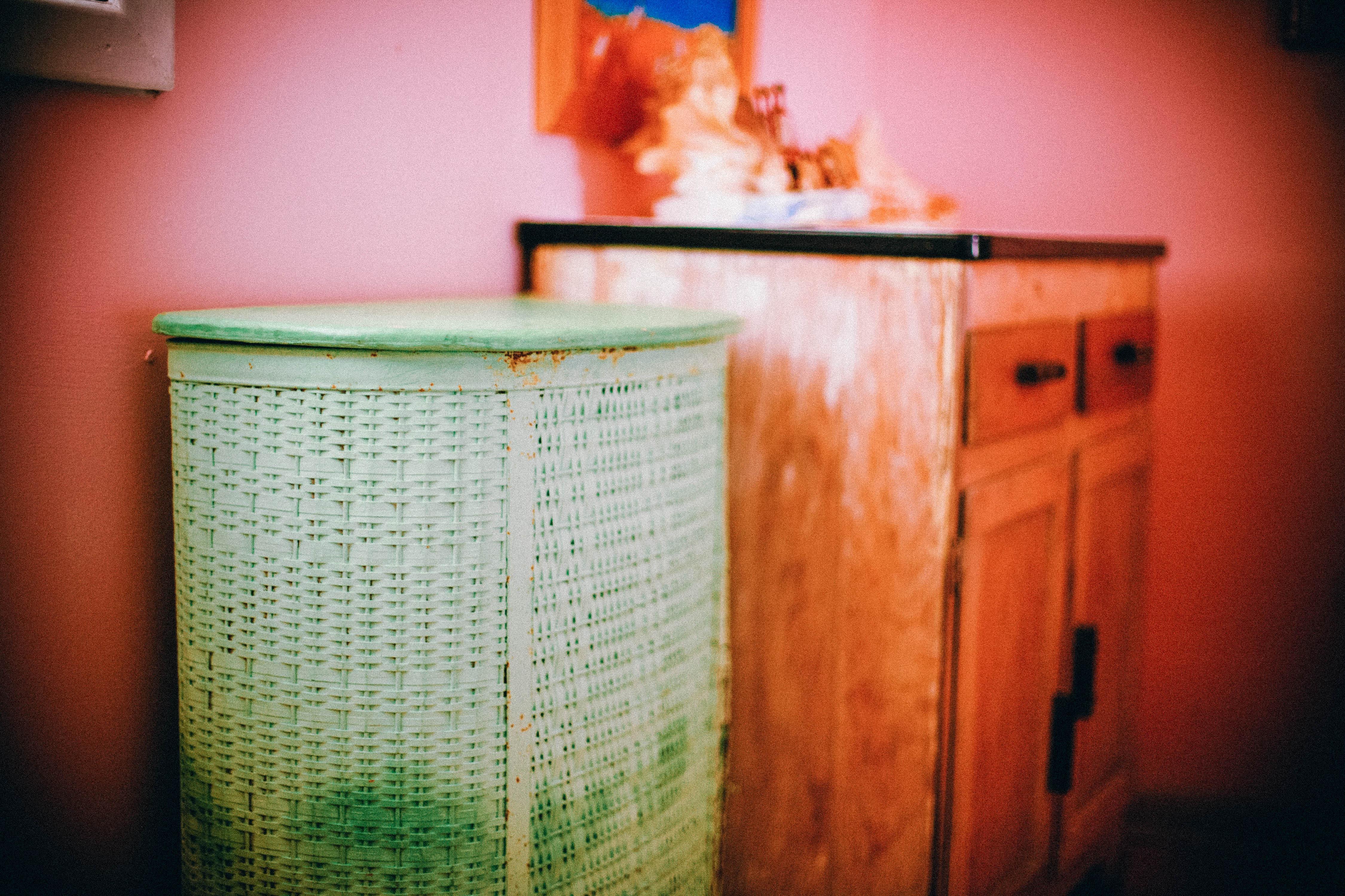 Wall Green Red Color Shelf Furniture Room Lighting Interior Design Bathroom  Art Design Shape Laundry Basket