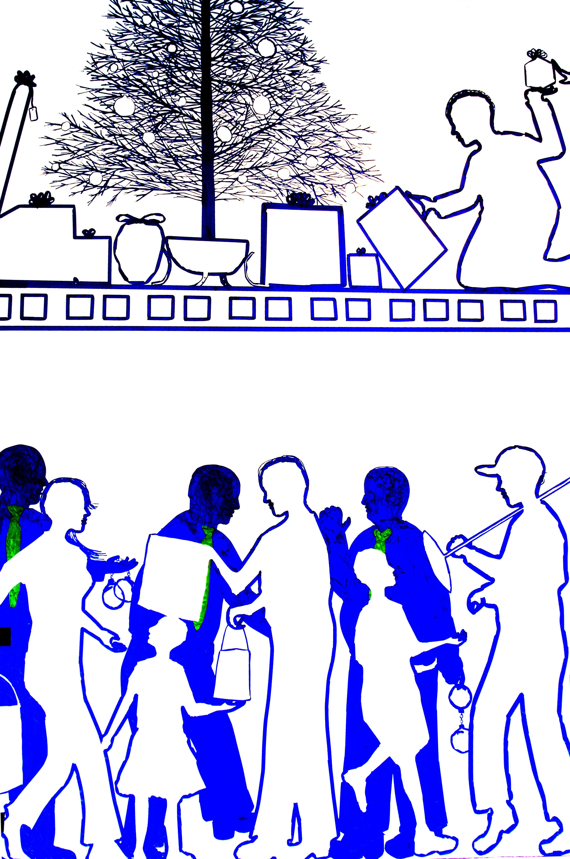 Gambar Dinding Penglihatan Modern Lukisan Fon Ilustrasi