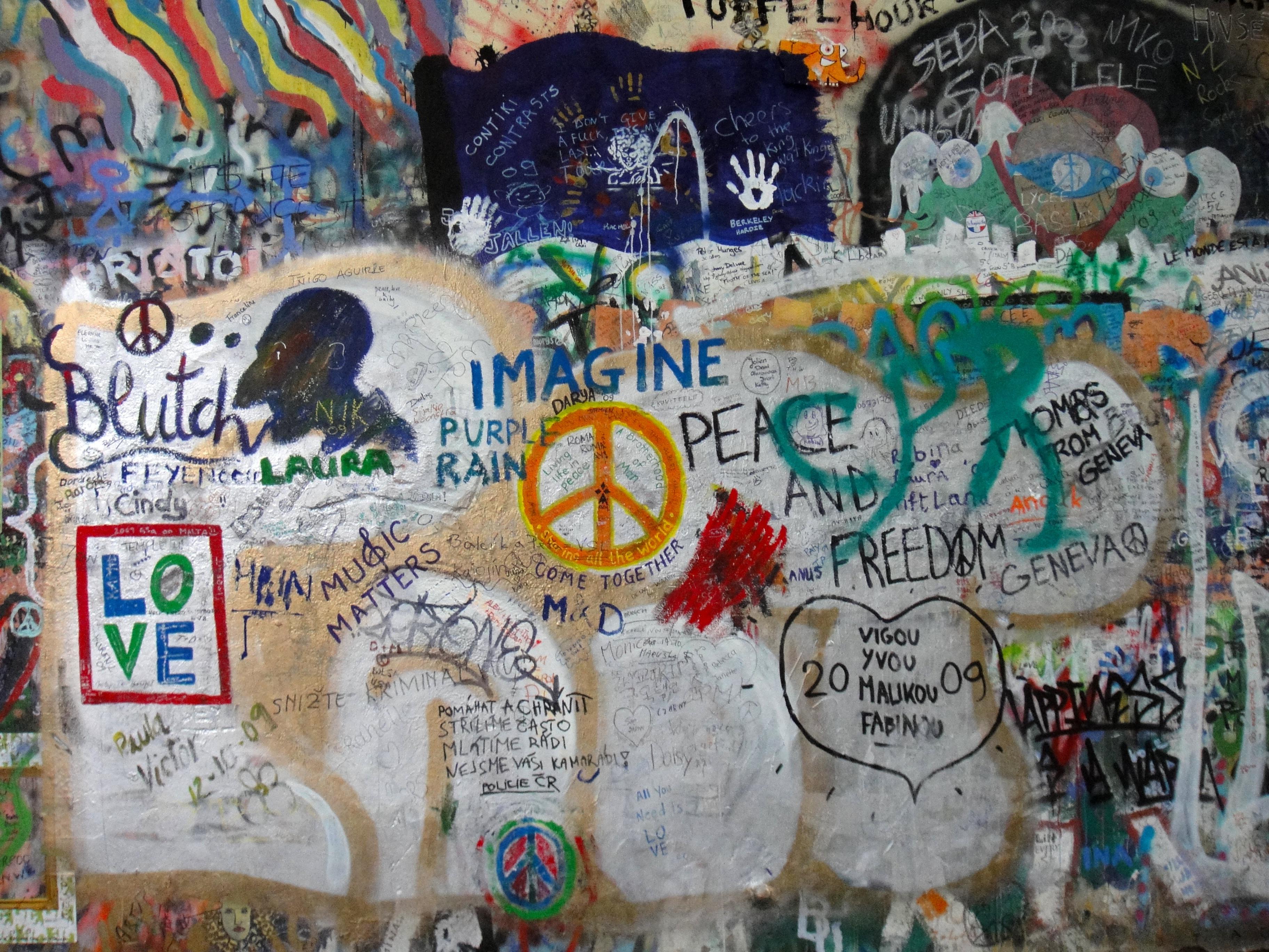 Wall Peace Prague Colorful Graffiti Street Art Art Mural Wall Art John  Lennon John Lennon Wall