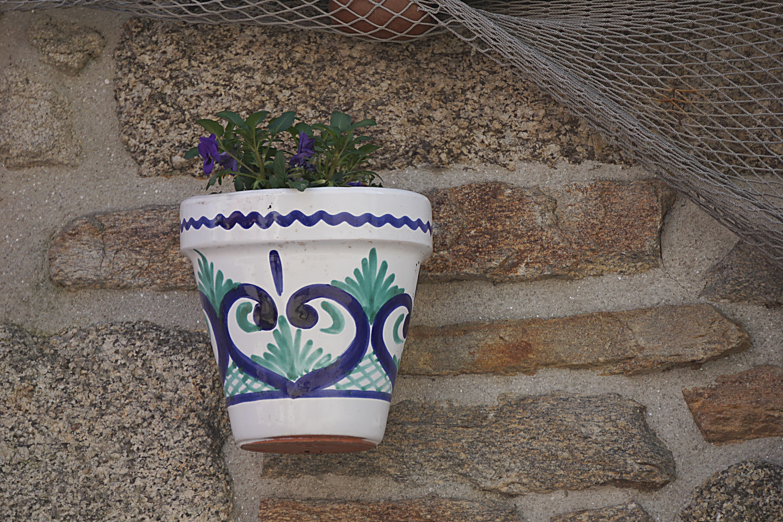 Gambar Dinding Dekorasi Biru Bunga Bunga Pot Bunga