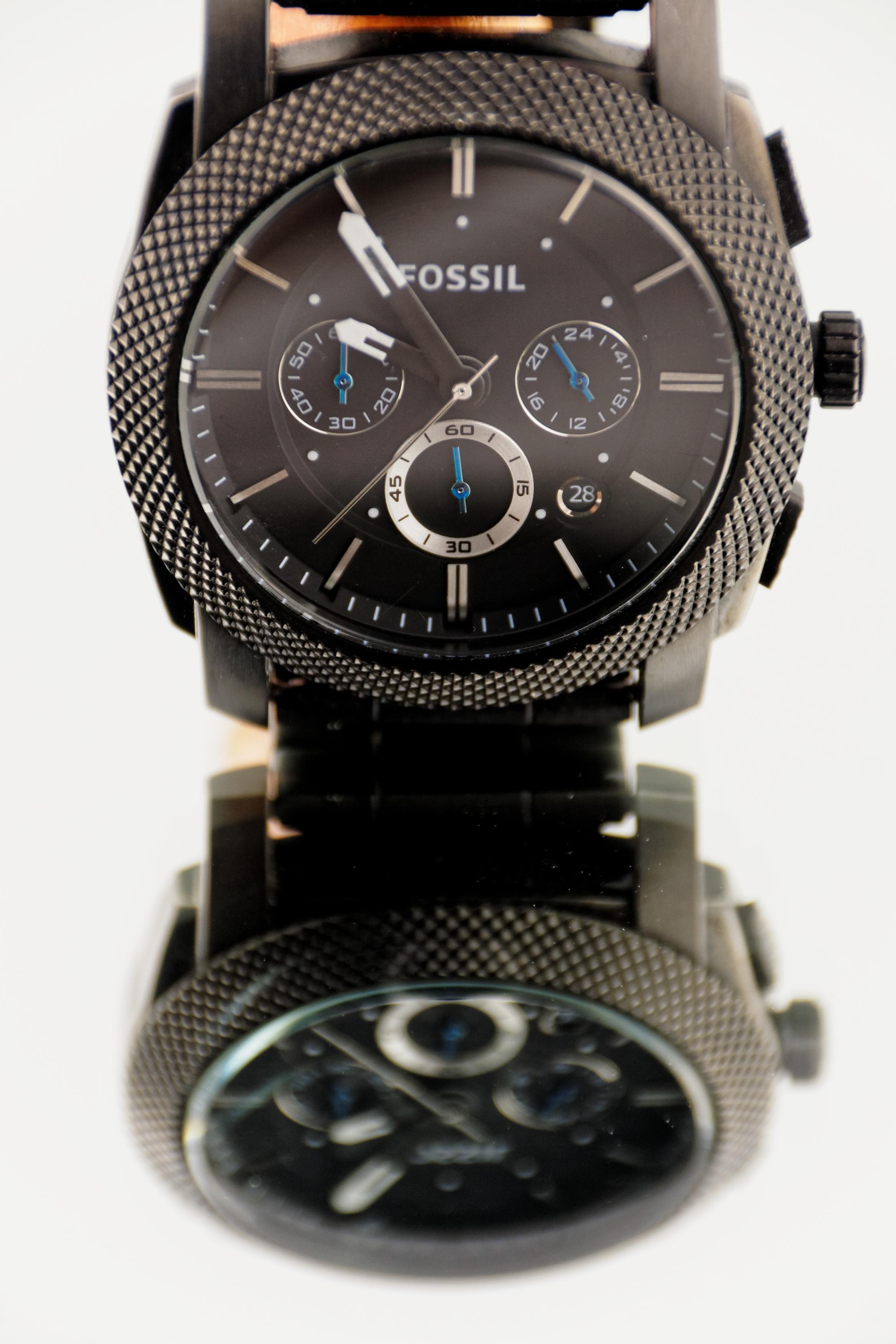 008c11ab3253 reloj mano reloj hora metal marca producto Reloj de pulsera de los hombres  cronógrafo fósil Correa