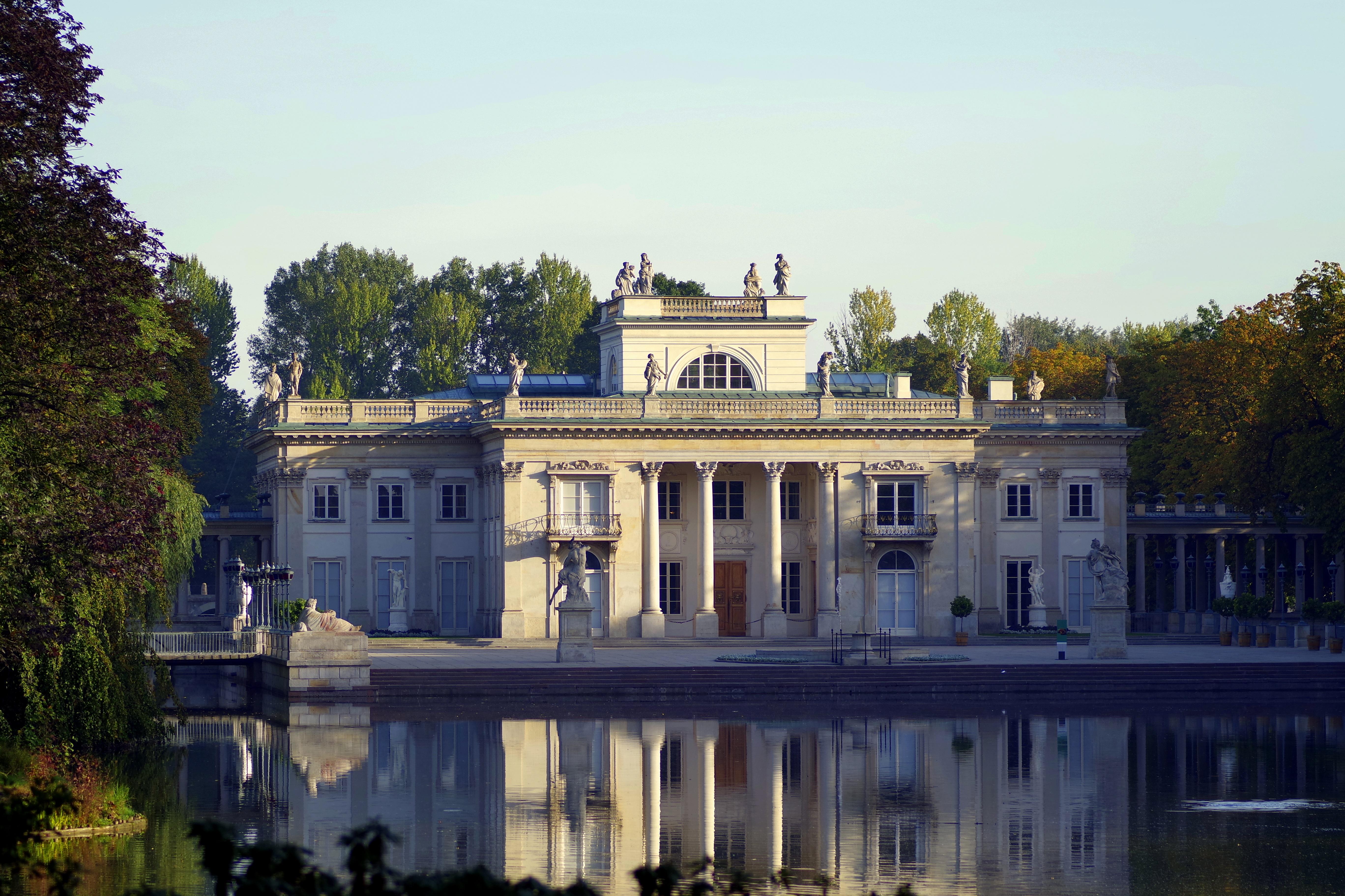 Free Images : architecture, mansion, house, building, chateau, monument, pond, reflection, landmark, facade, tourism, waterway, sculpture, tour, columns, ...