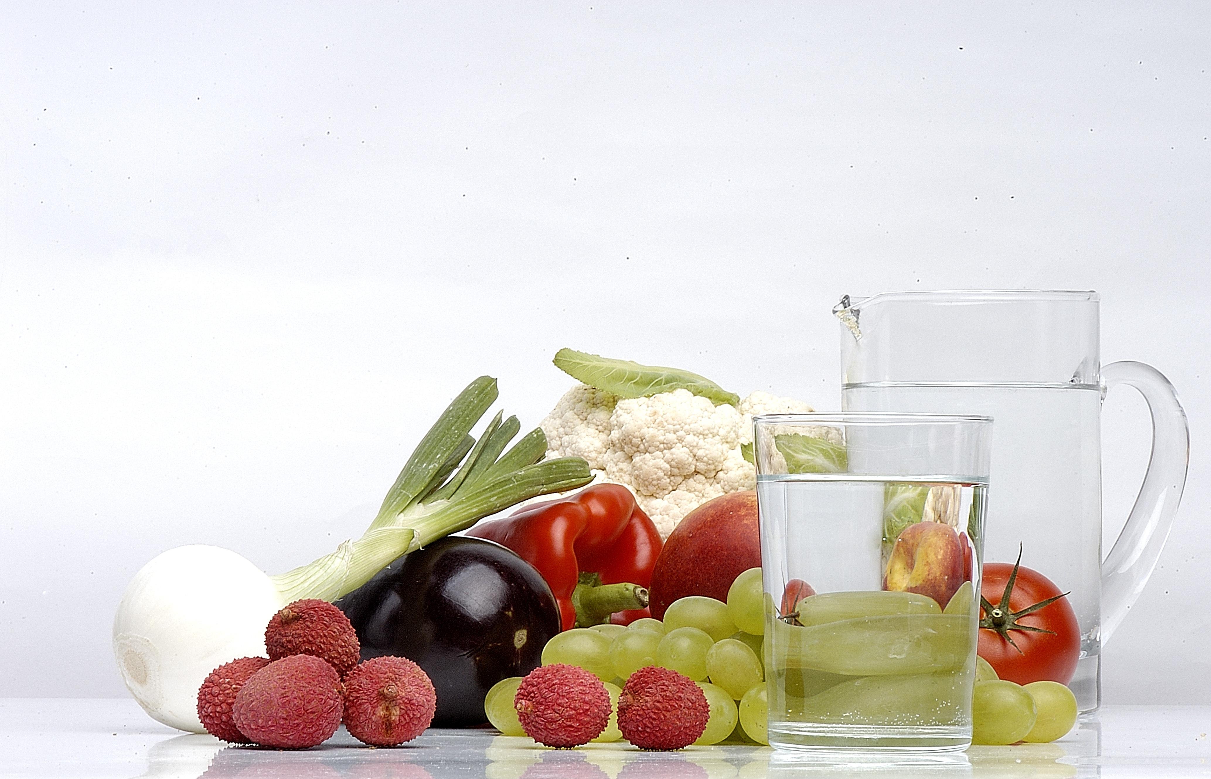 Fotoğraf Su Meyve Bardak Yaz Tabak Yemek Gıda Biber