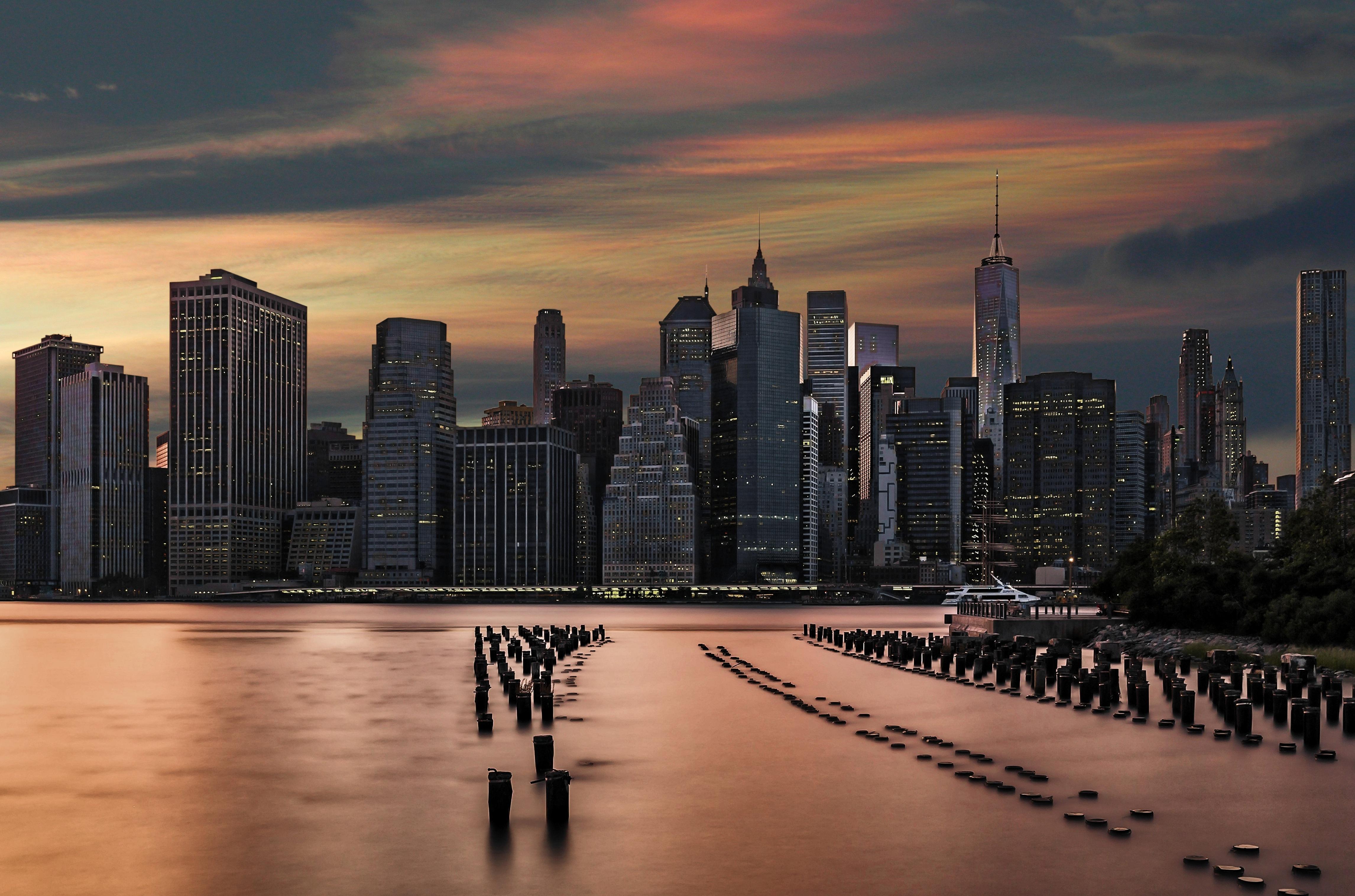 Images gratuites eau horizon architecture ciel lever - Coucher du soleil new york ...