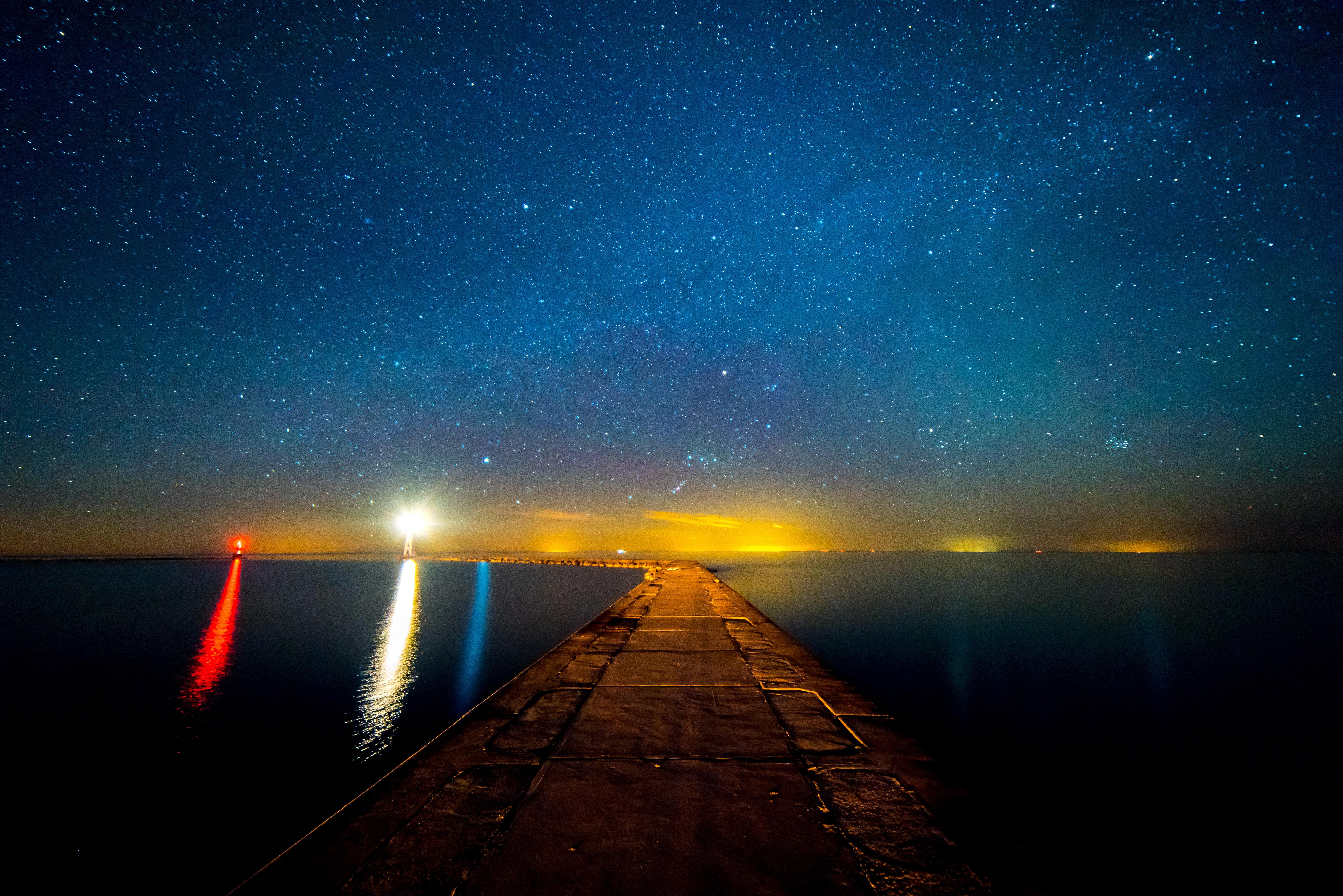 Free Images Water Horizon Light Lighthouse Sky Night