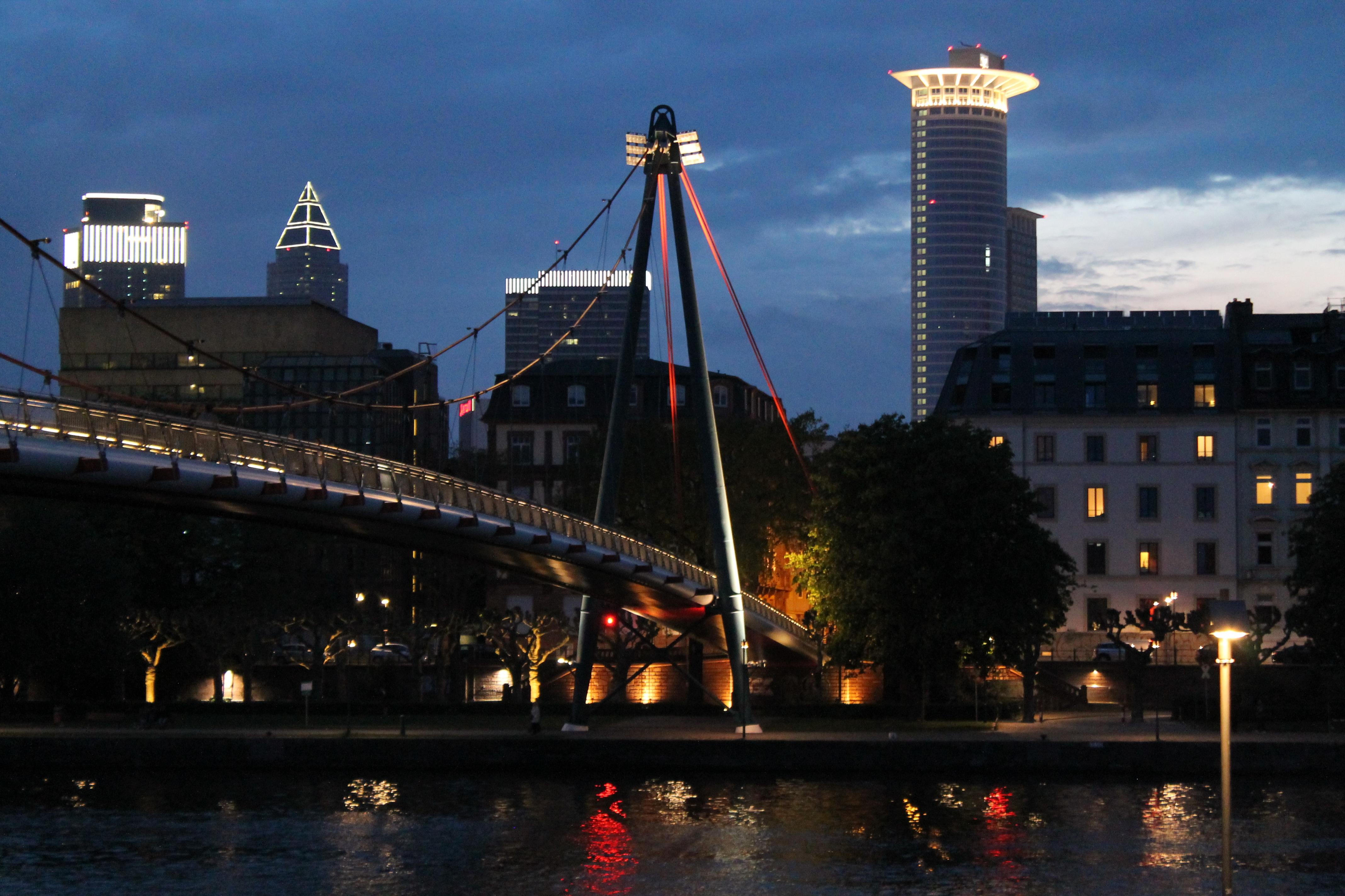 ... Downtown, Dark, Dusk, Evening, Reflection, Landmark, Harbor, Lighting,  Waterway, Lights, Reflections, Frankfurt Am Main Germany, Hesse, Town Center,  ...