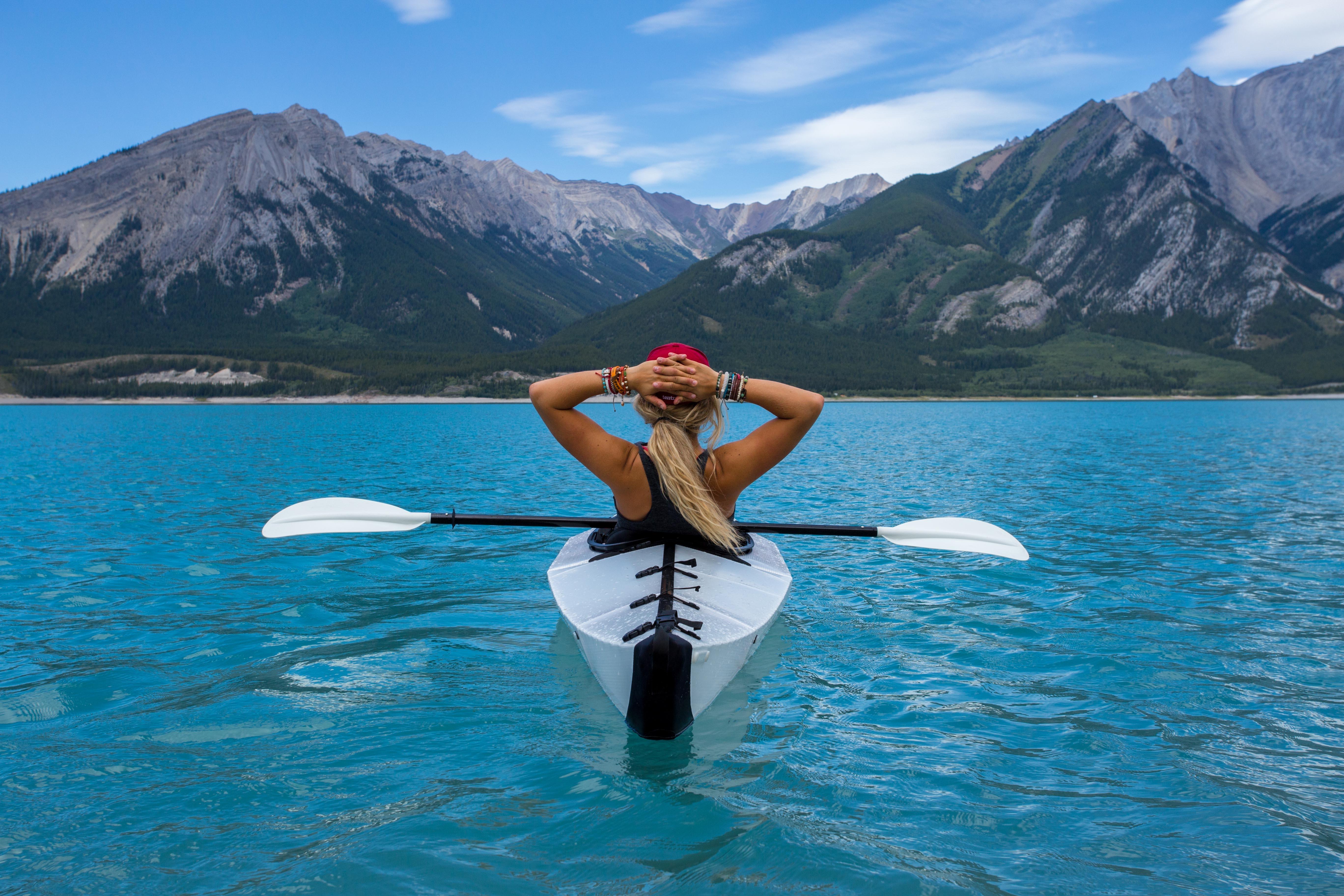 free images water mountain woman lake paddle vehicle extreme