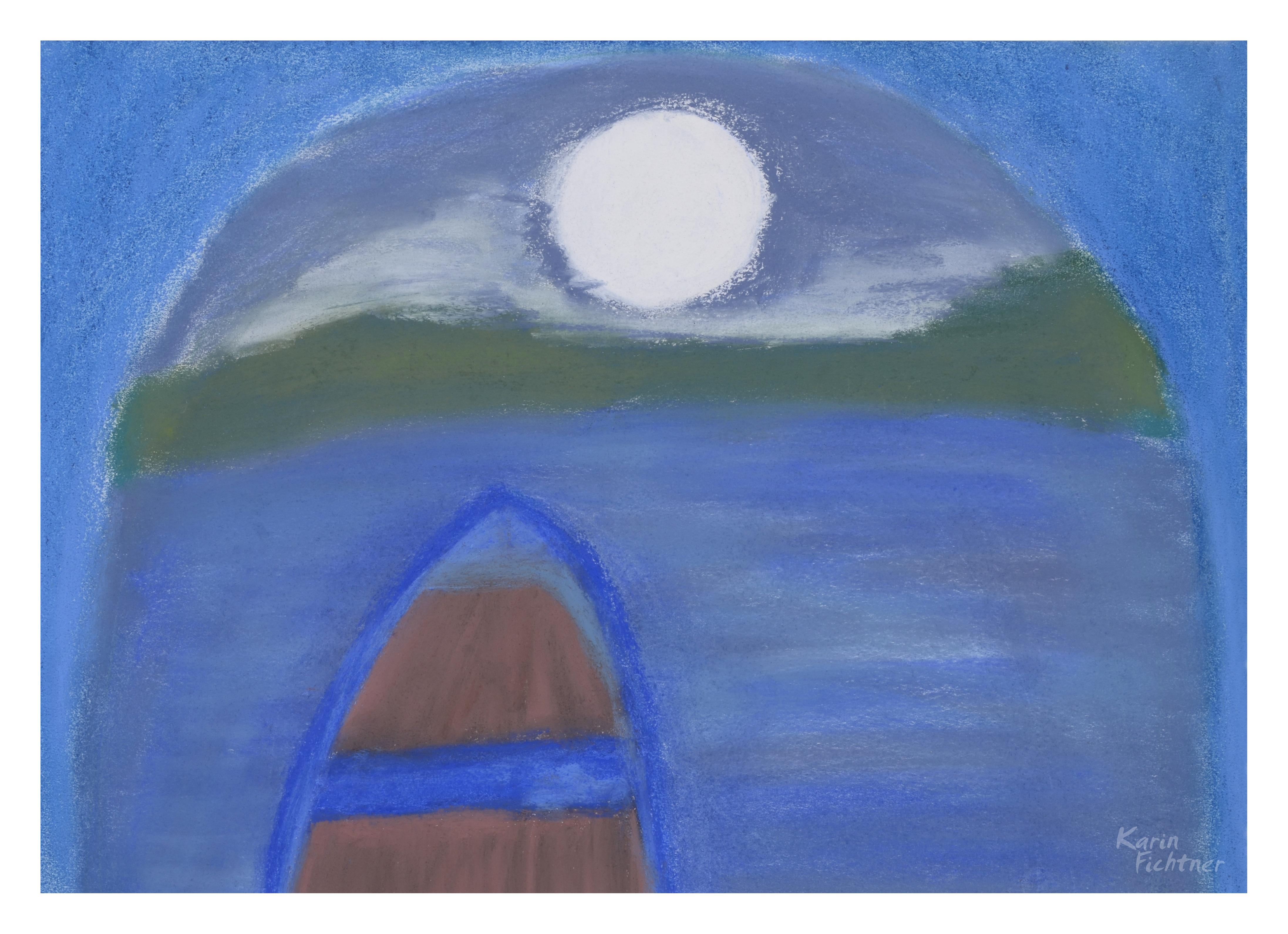 Fotoğraf Su Gece Göl Tasavvufi çizme Sörf Tahtası Mavi