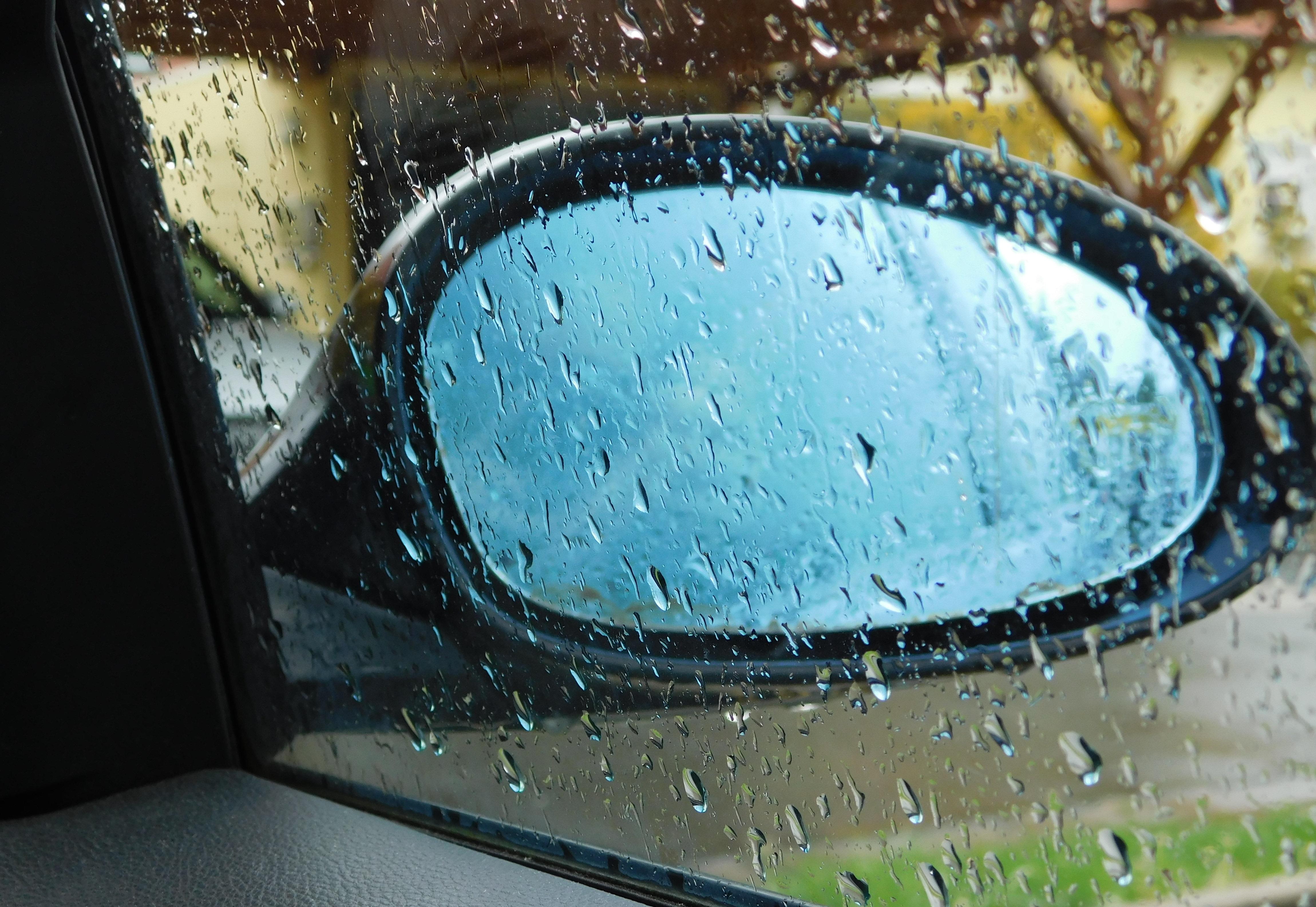 Gambar Jendela Titisan Hujan Basah Biru Menitik Cermin Mobil