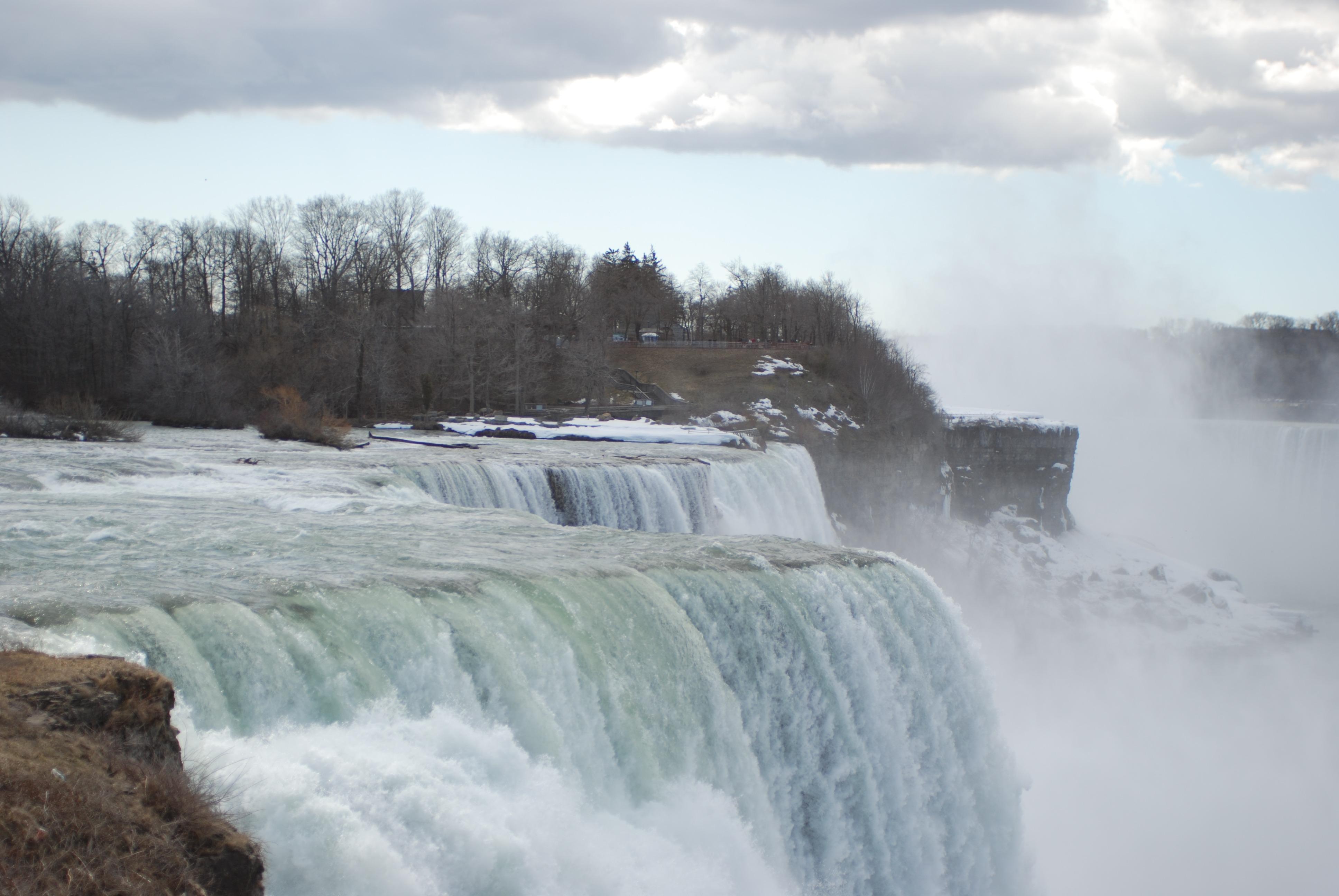 Free Images : rock, waterfall, winter, drop, mist, river