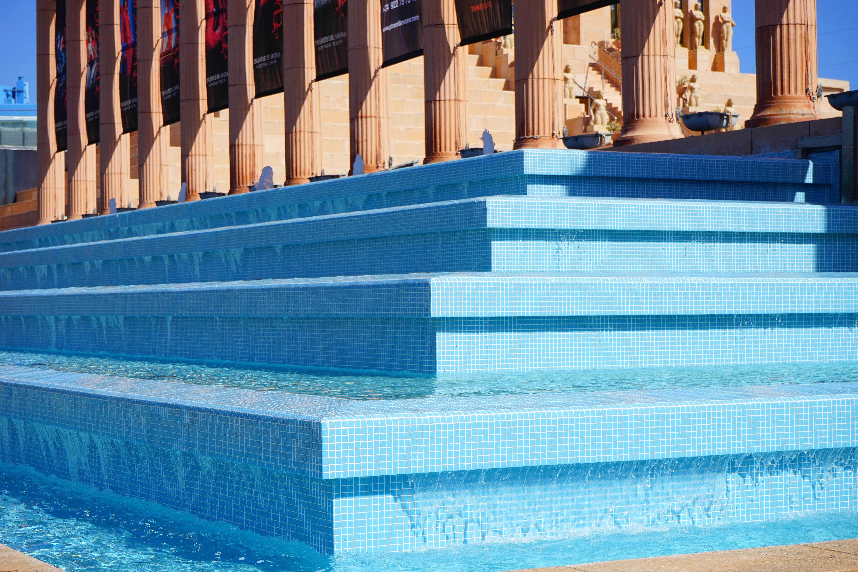 Water Swimming Pool Blue Leisure Stairs Statues Fountain Tenerife Columnar Gradually Hard Rock Cafe Playa De