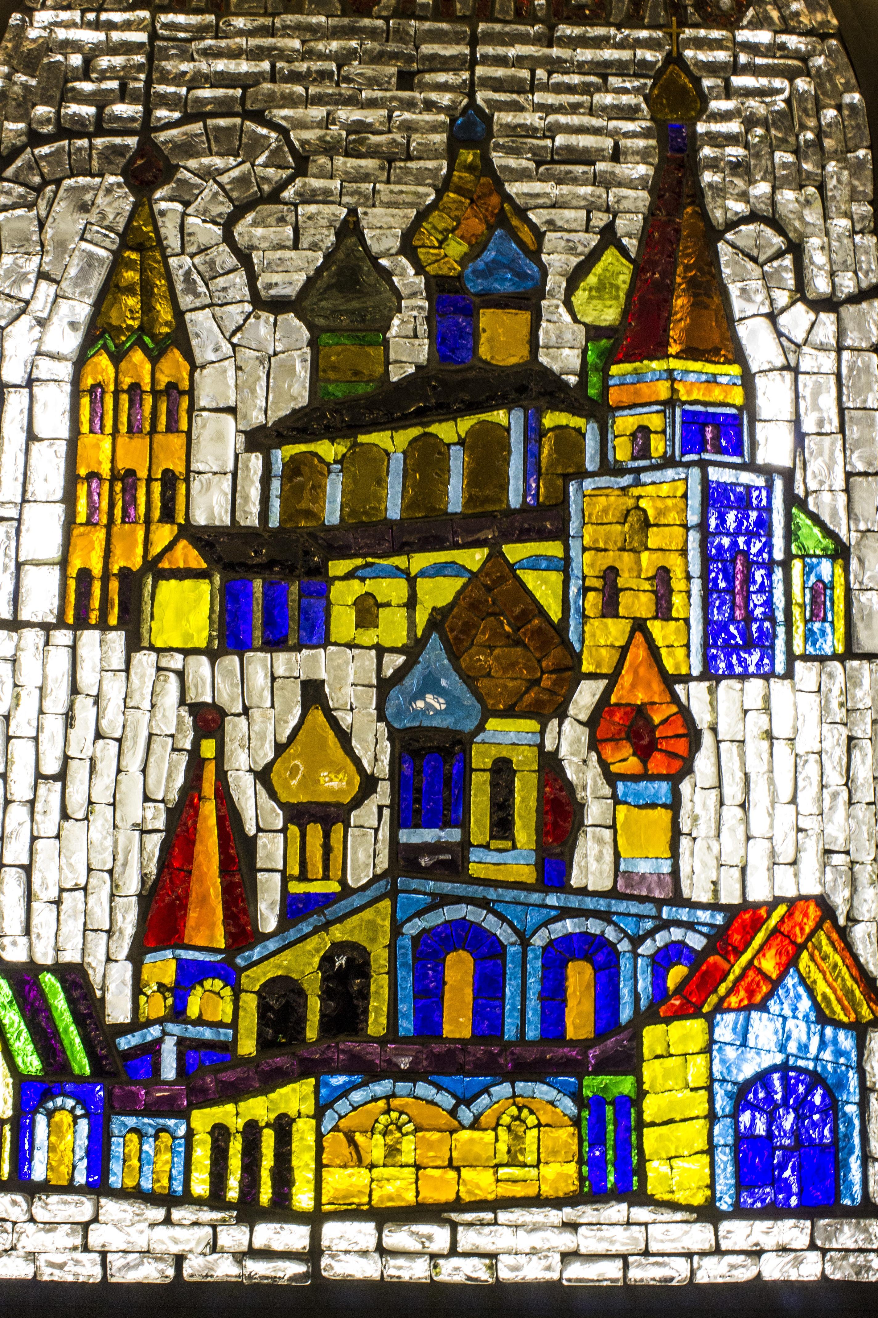 Fenster Glas Metro Farbe Farbe Dekor Material Glasmalerei Kunst Entwurf  Hell Mosaik  Schön Stil Moskau