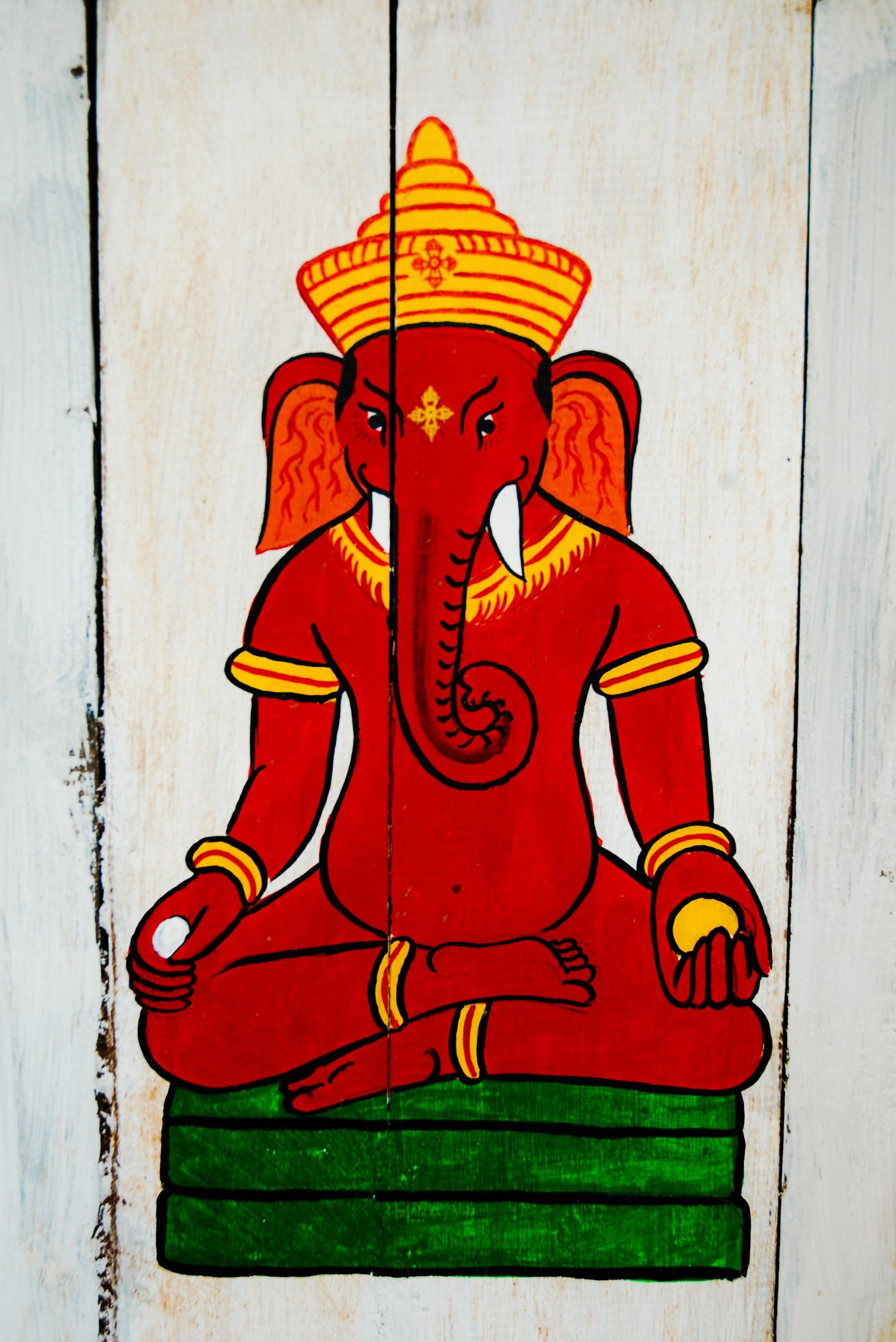 Gambar Jendela Kaca Merah Nepal Ilustrasi Seni Modern