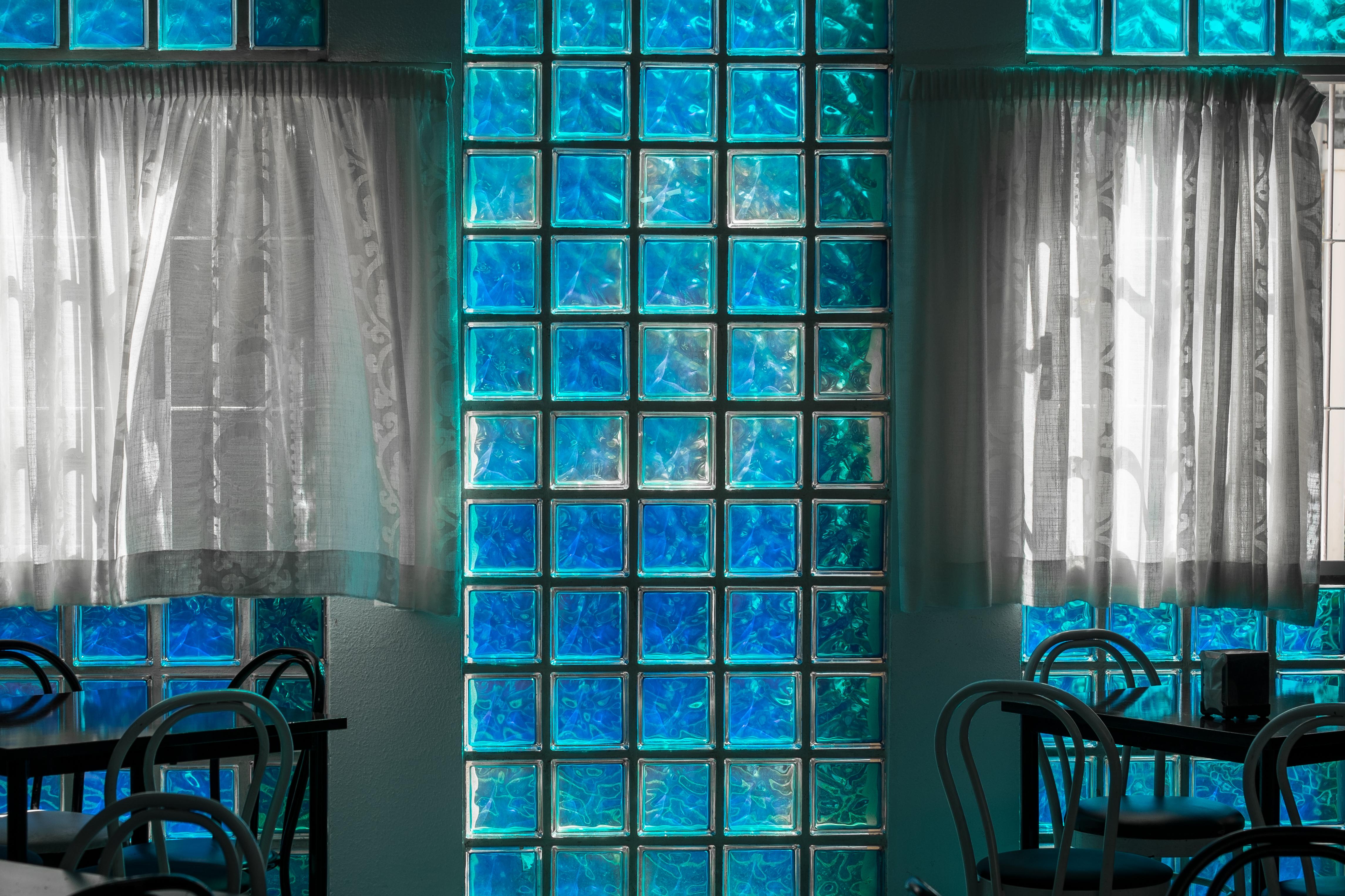 Gratis afbeeldingen glas muur kleur binnen gordijn blauw