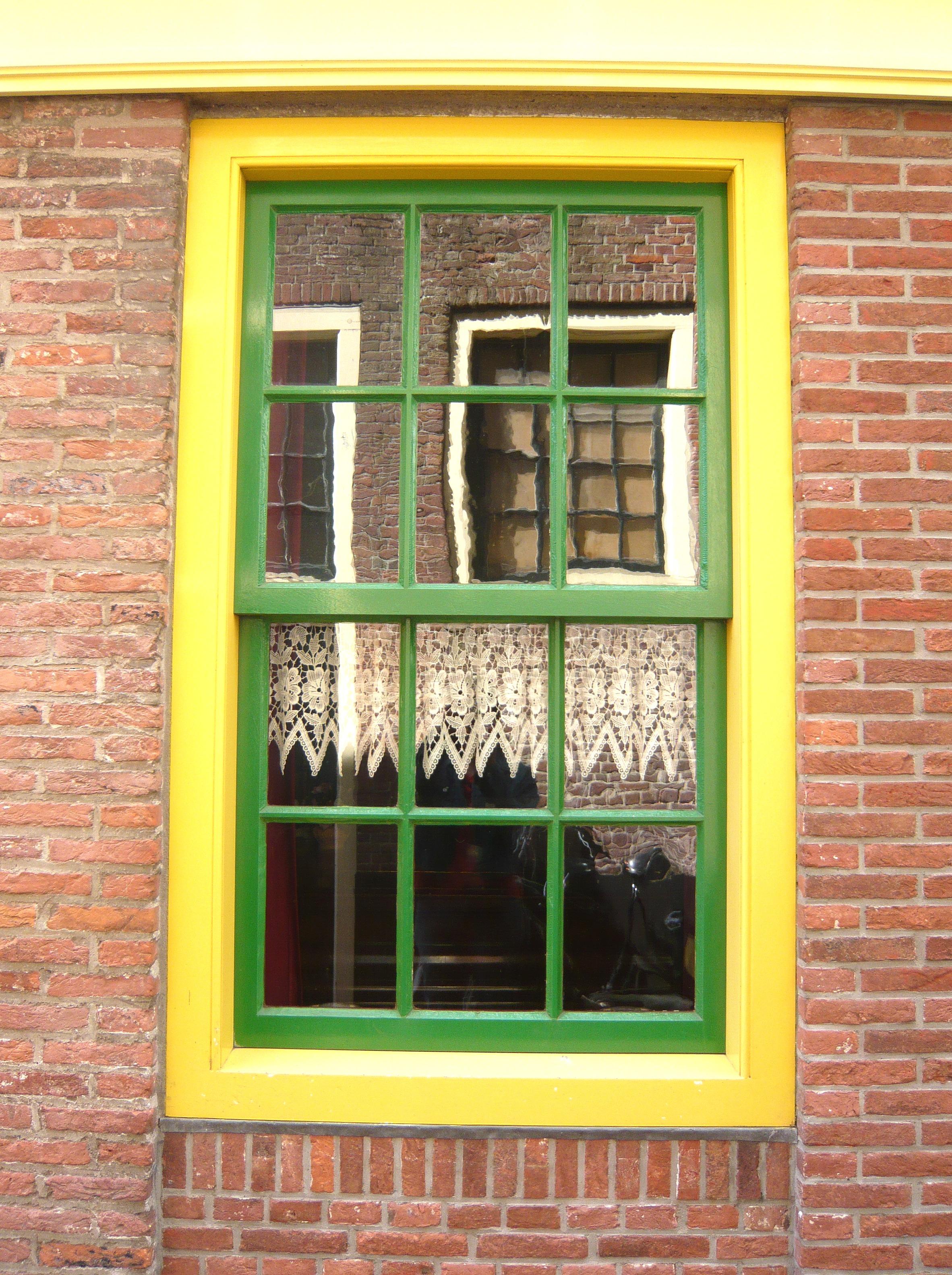 Fenster Mauer Grün Farbe Fassade Eigentum Gelb Ziegel Tür Innenarchitektur  Amsterdam Reflexion Im Fenster Fensterverkleidung Schiebefenster