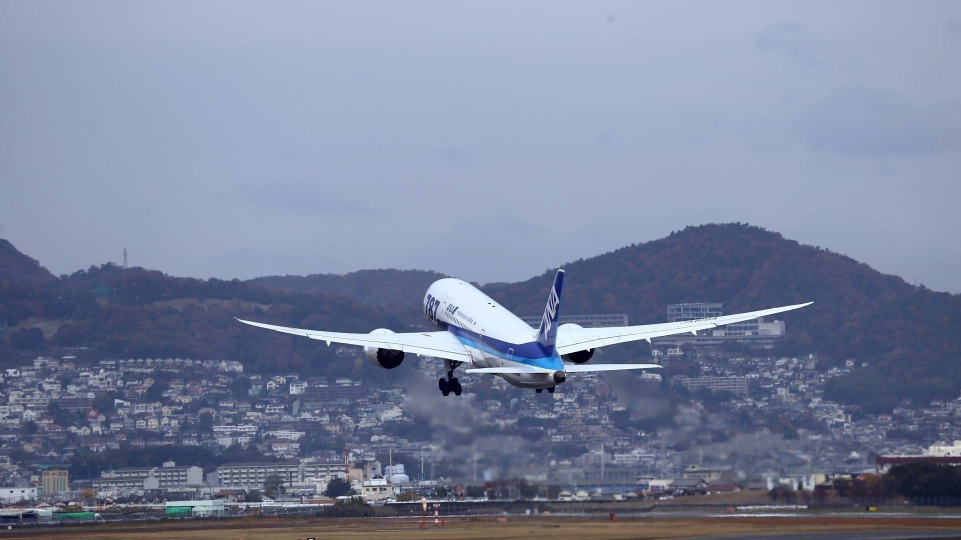 Обои Япония, ночь, Самолёт, Боинг 747. Авиация foto 16