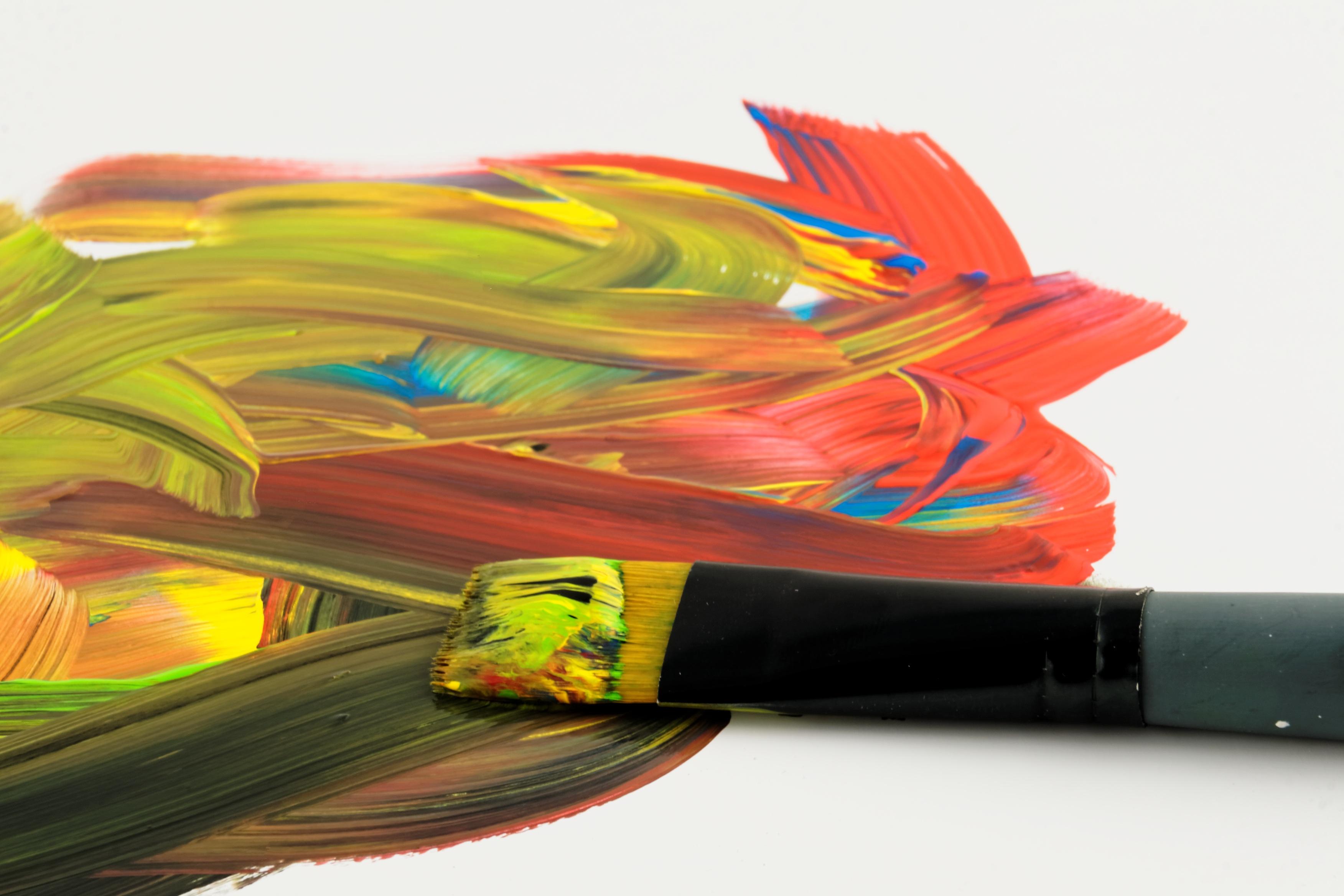 Aile Brosse Vert Rouge Couleur Peindre Coloré Jaune La Peinture Art Peintre  Illustration Peinture à L