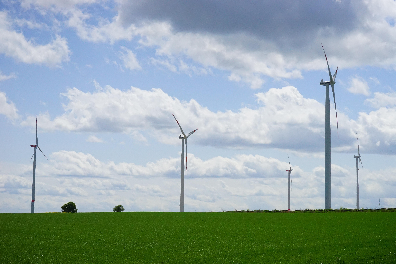 Free wing cloud sky field prairie windmill