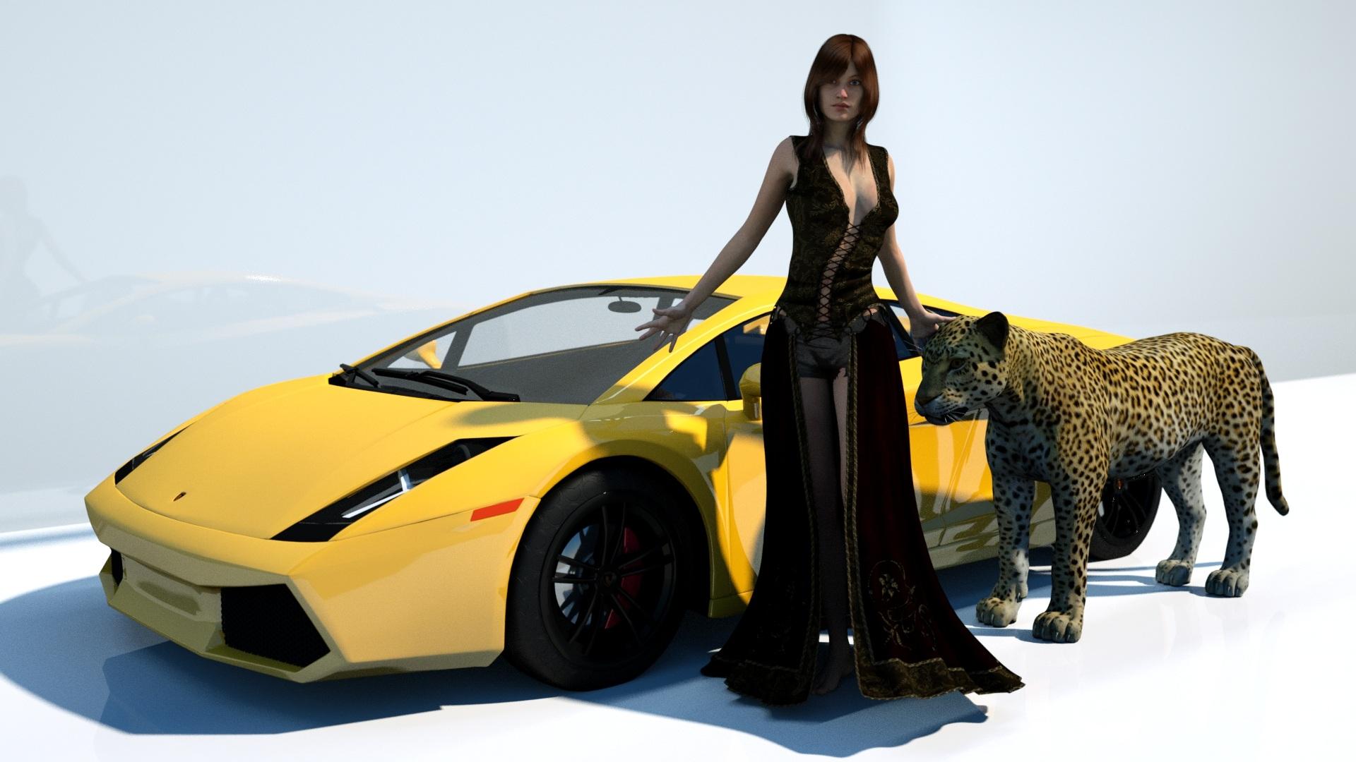 Woman Car Model Vehicle Yellow Leopard Sports Car Cheetah Colour Supercar Y Lamborghini Model Car Land Public Domain